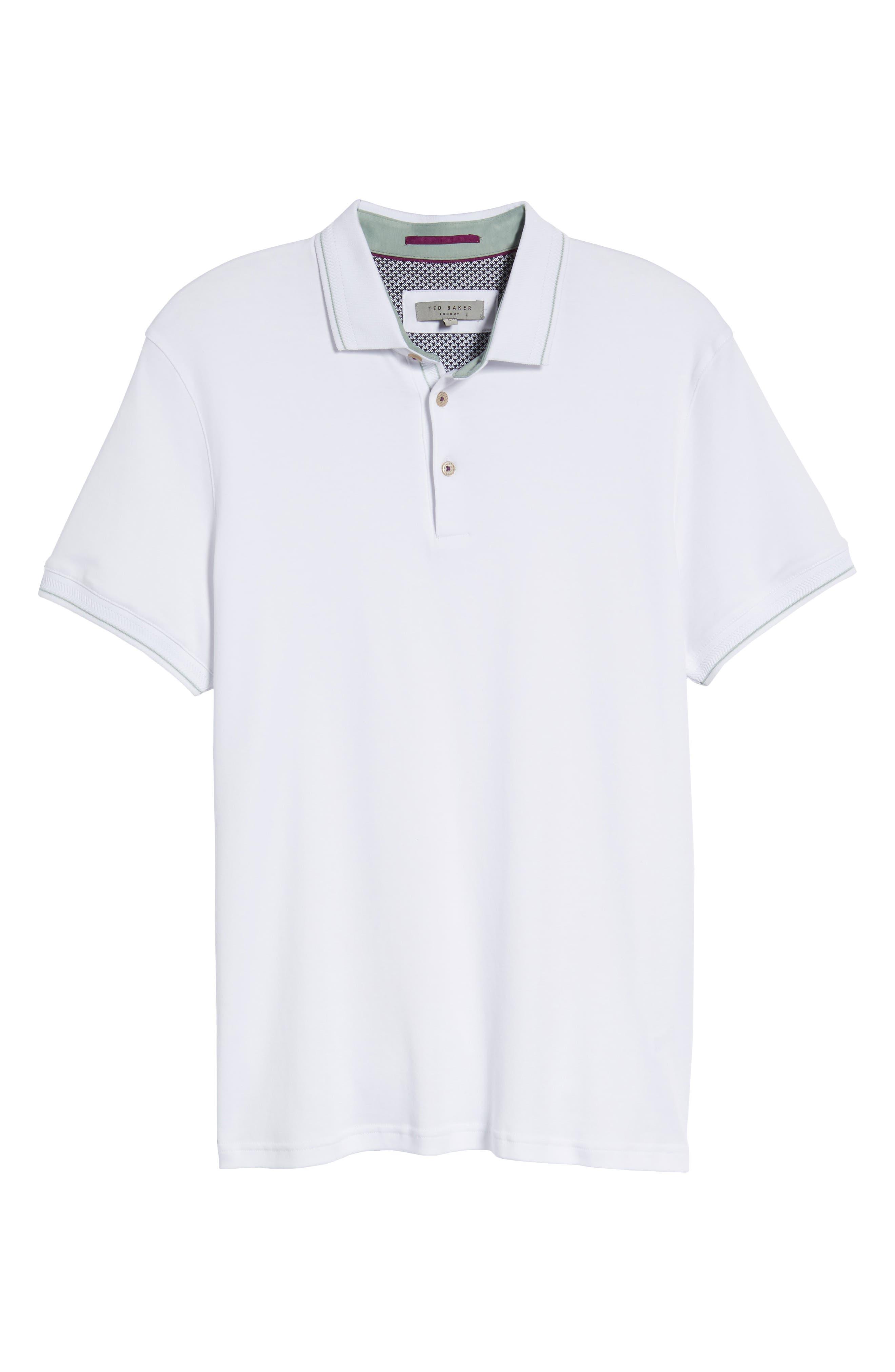 Pug Trim Fit Stripe Polo,                             Alternate thumbnail 6, color,                             White