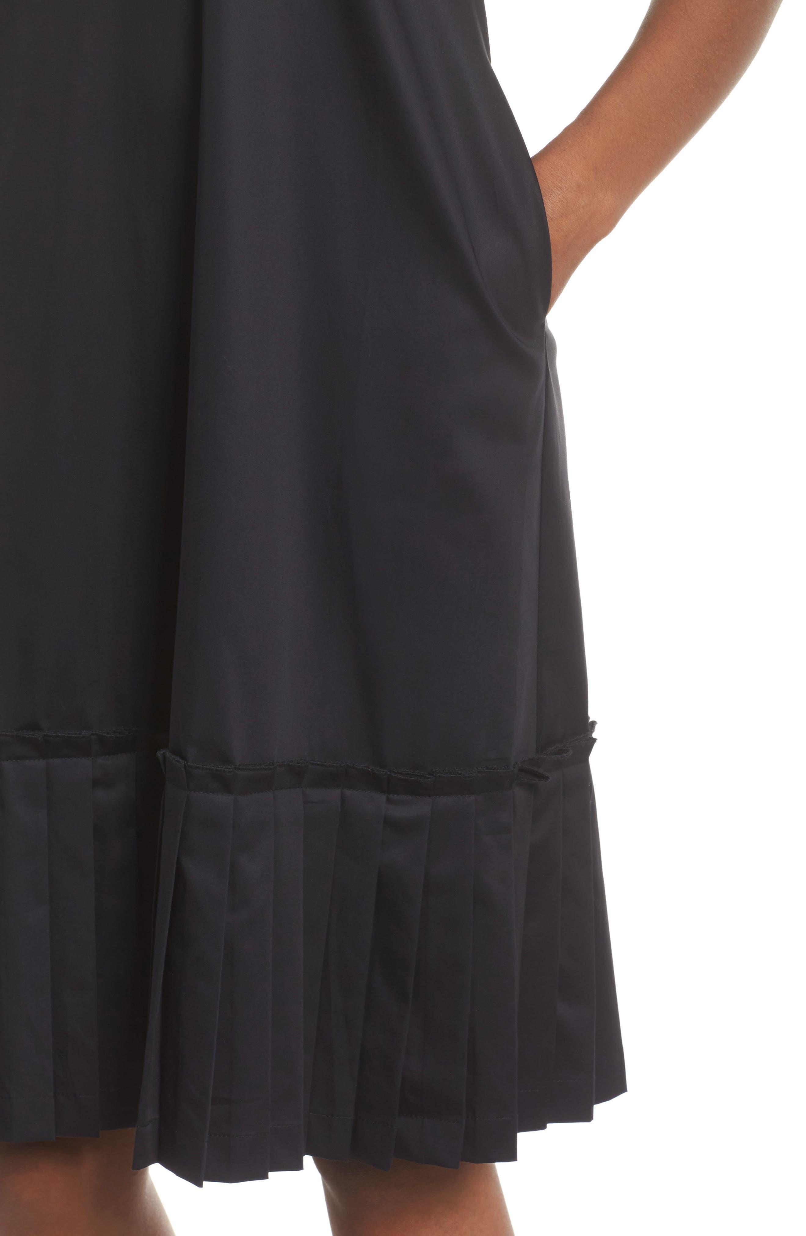Pleat Hem Shift Dress,                             Alternate thumbnail 4, color,                             Black