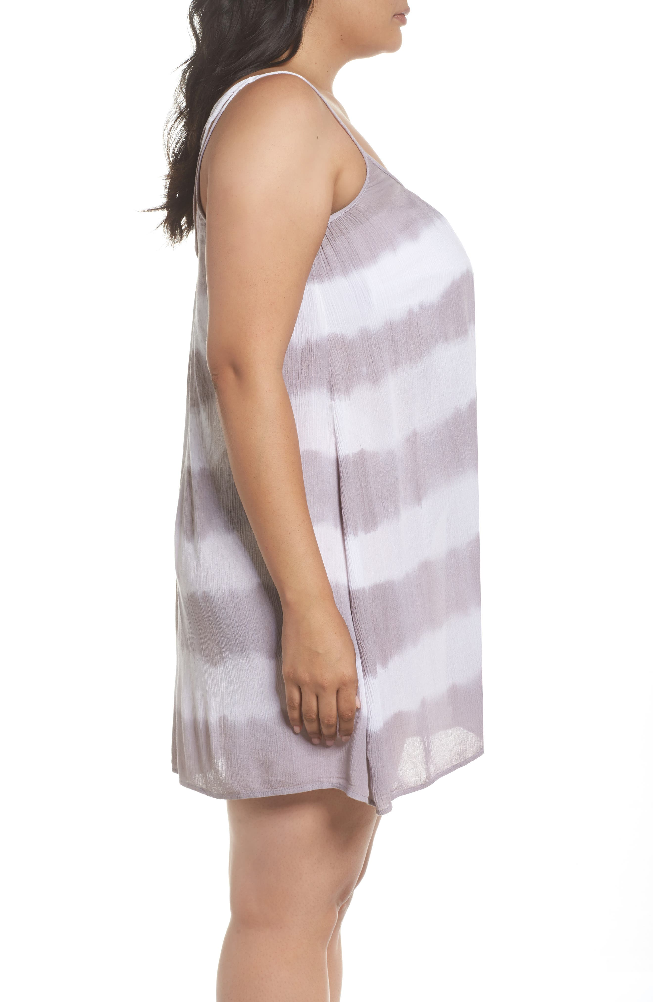 Cover-Up Dress,                             Alternate thumbnail 3, color,                             Grey/White Stripe
