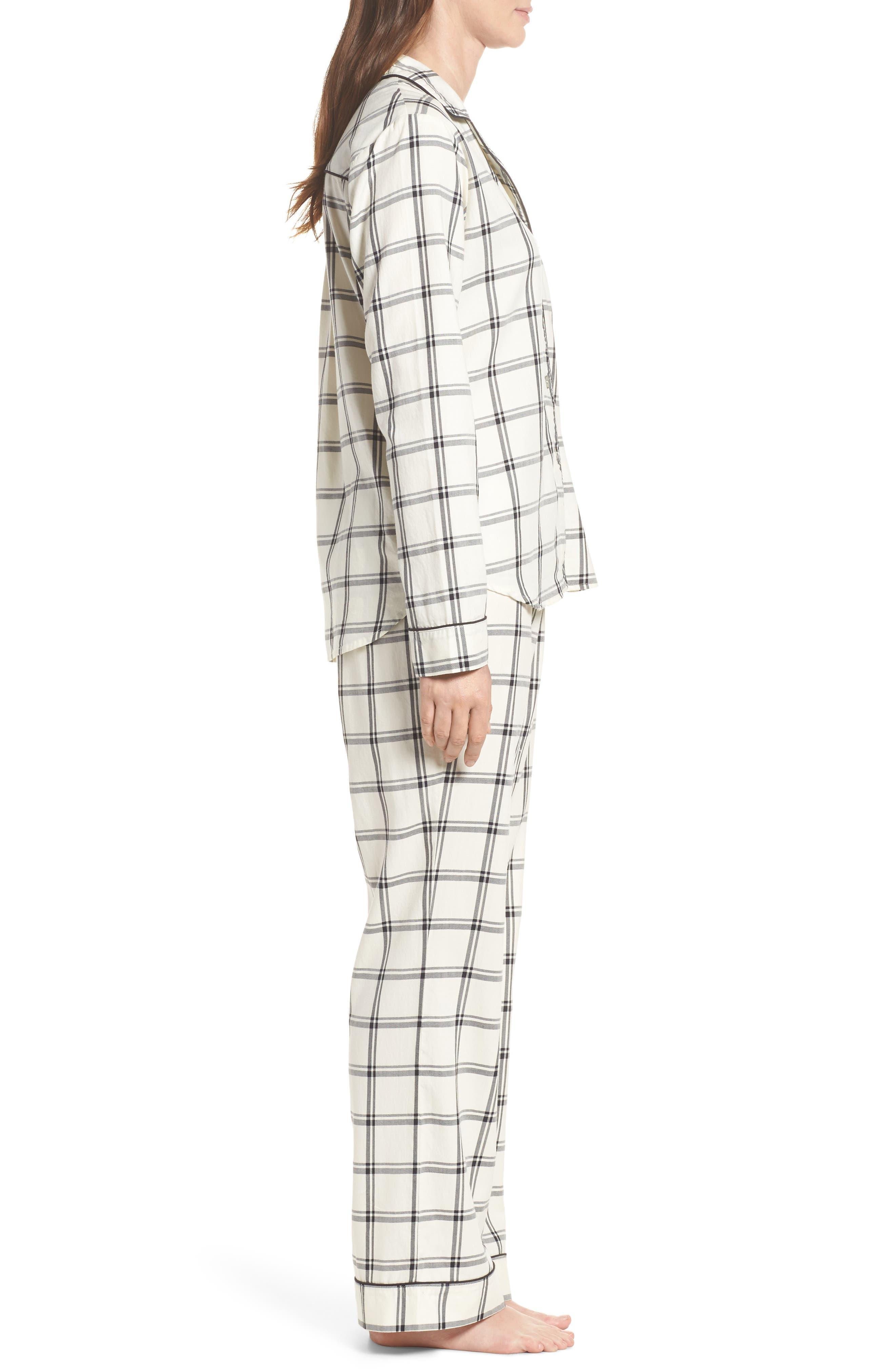 Raven Plaid Pajamas,                             Alternate thumbnail 3, color,                             Cream/ Black