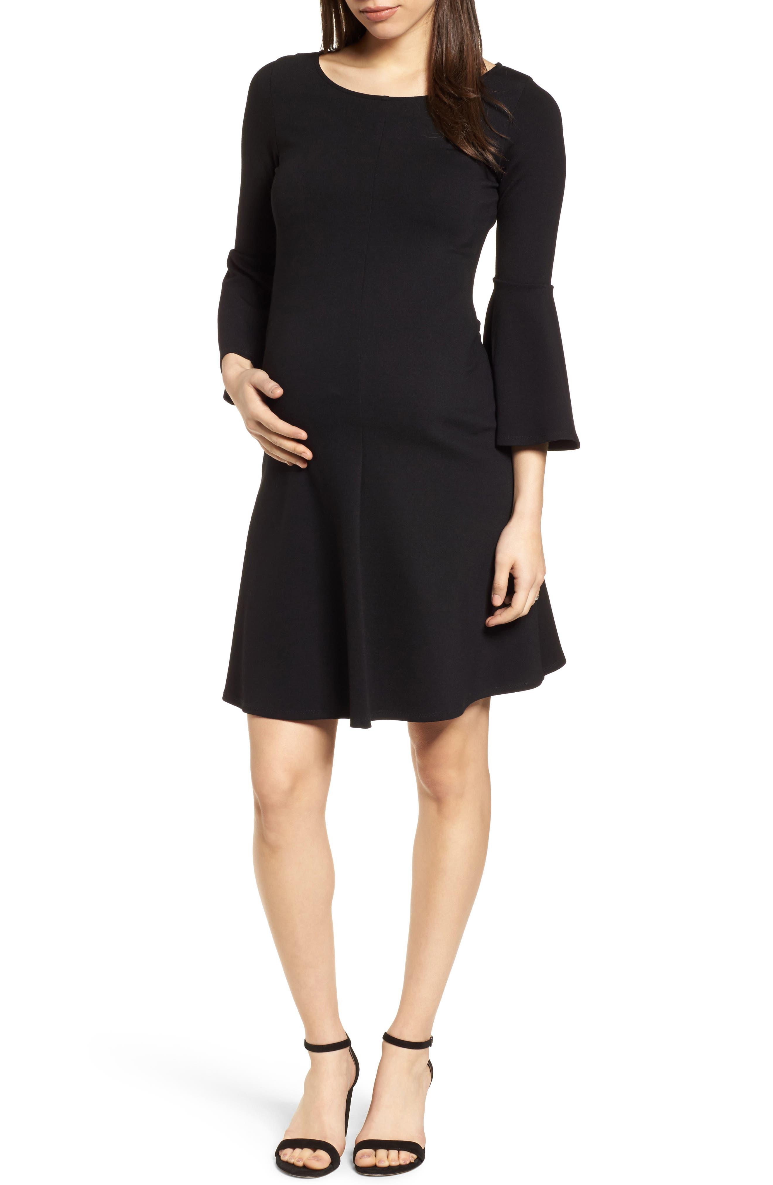 Natalia Maternity Dress,                             Main thumbnail 1, color,                             Caviar Black
