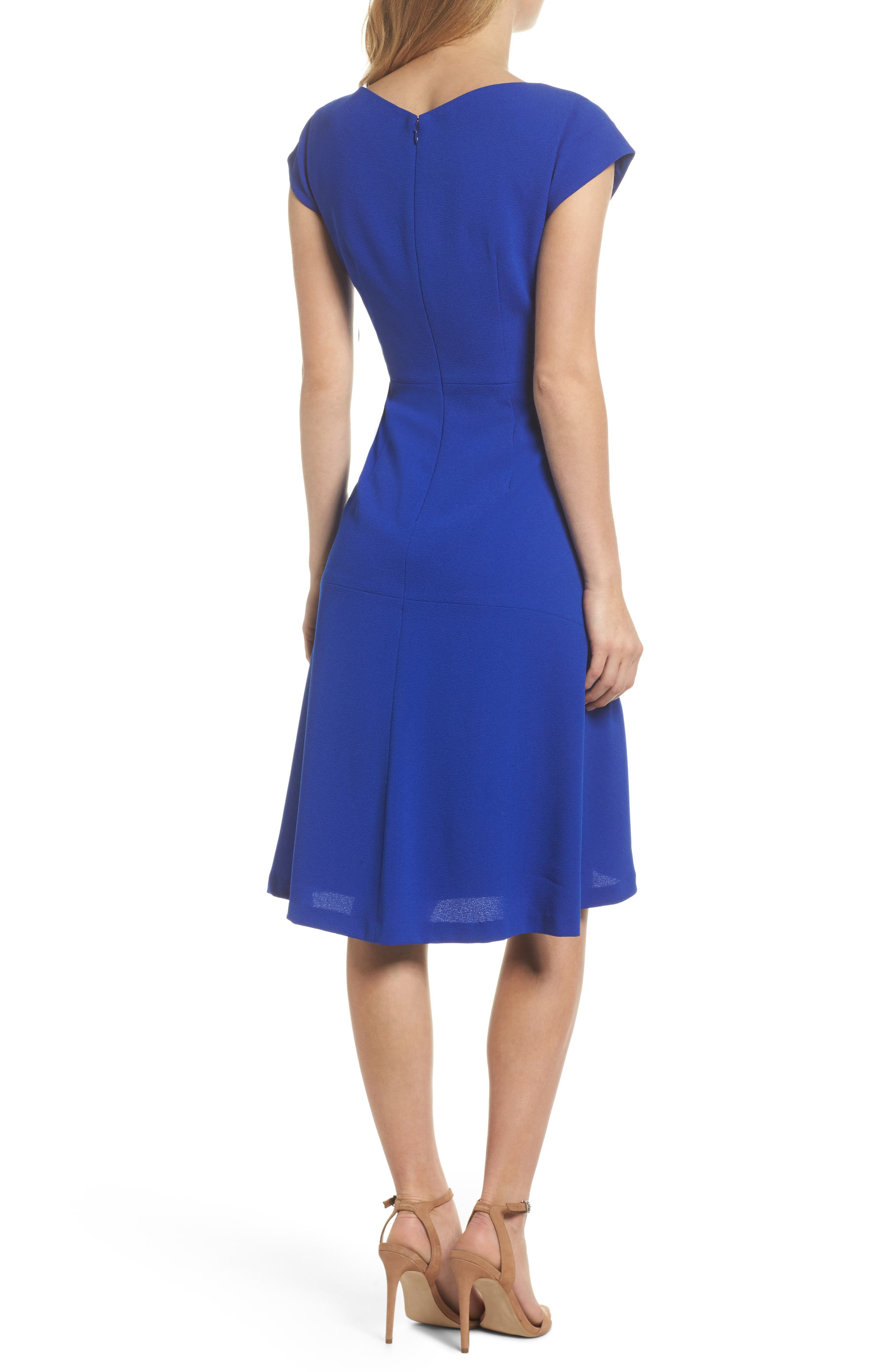 Asymmetrical Neck Fit & Flare Dress,                             Alternate thumbnail 2, color,                             Royal