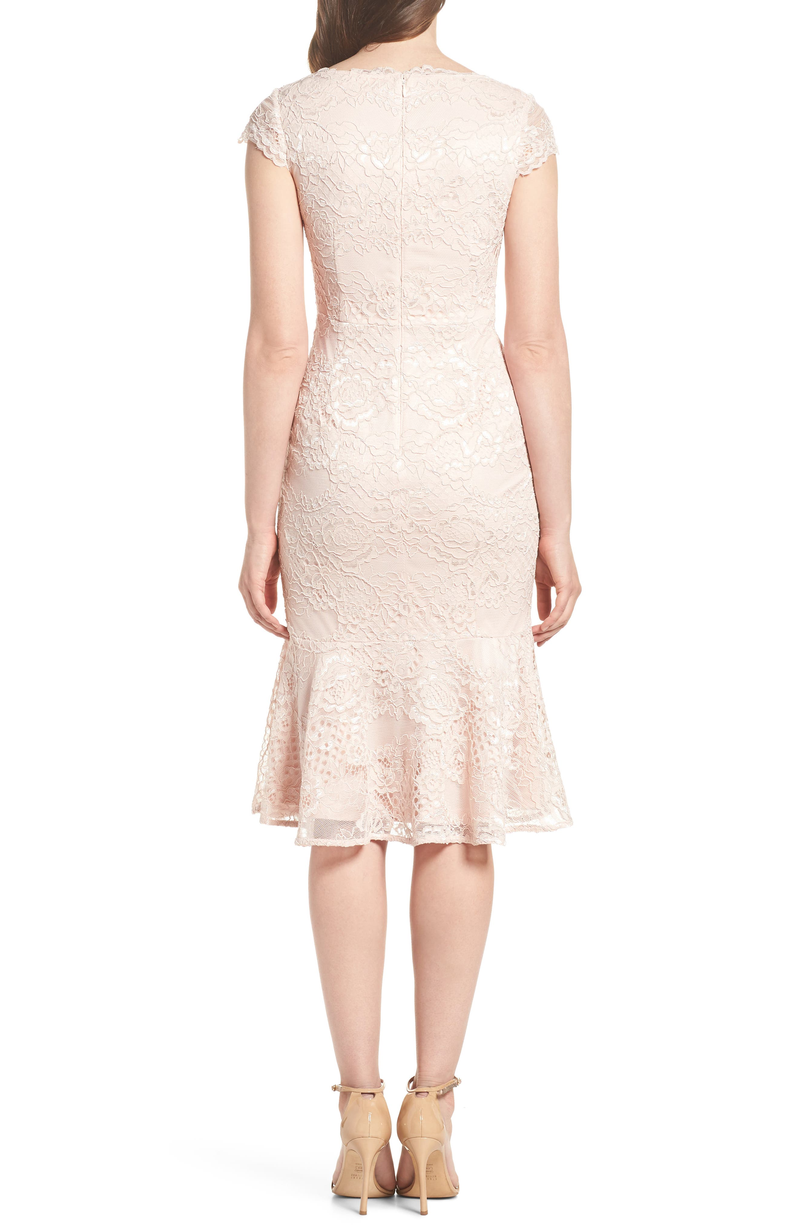 Flounce Hem Lace Dress,                             Alternate thumbnail 2, color,                             Blush