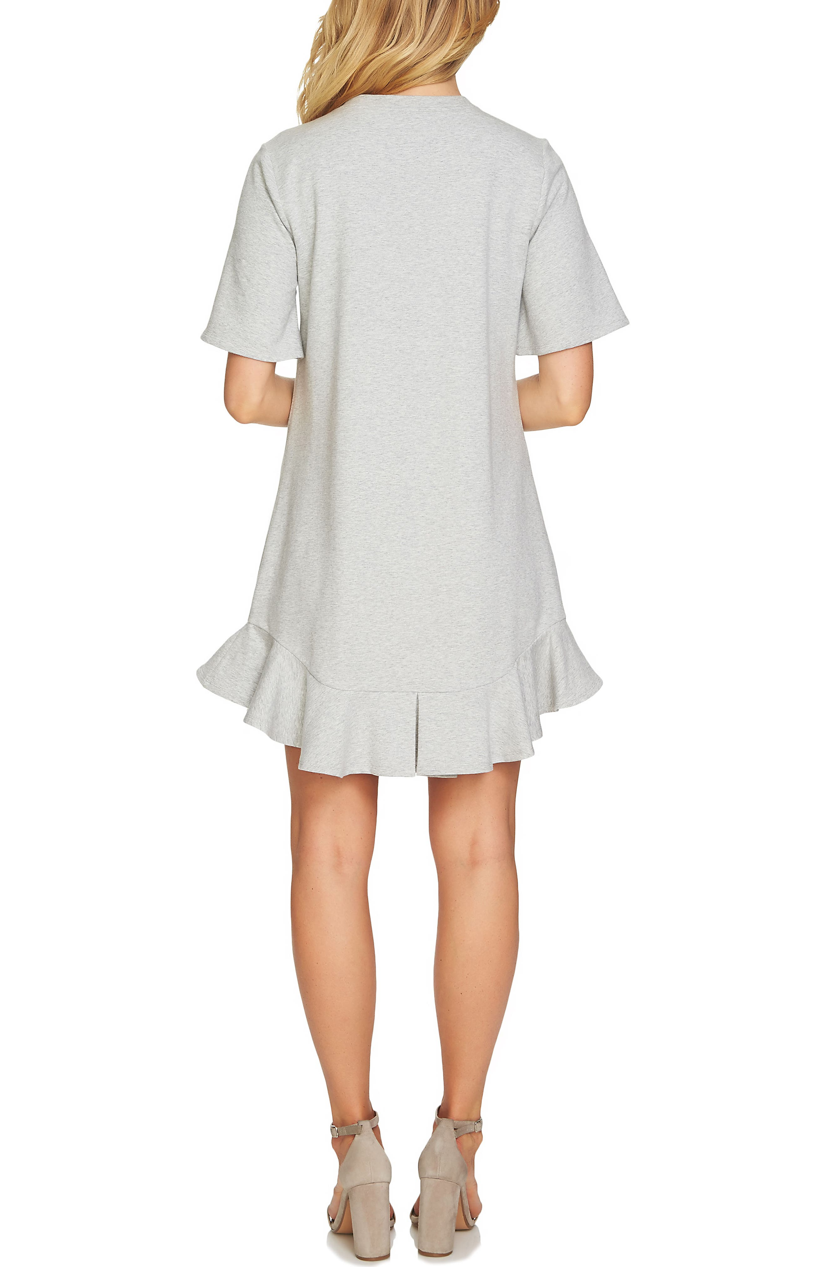 Embellished French Terry Shirtdress,                             Alternate thumbnail 2, color,                             Grey Heather
