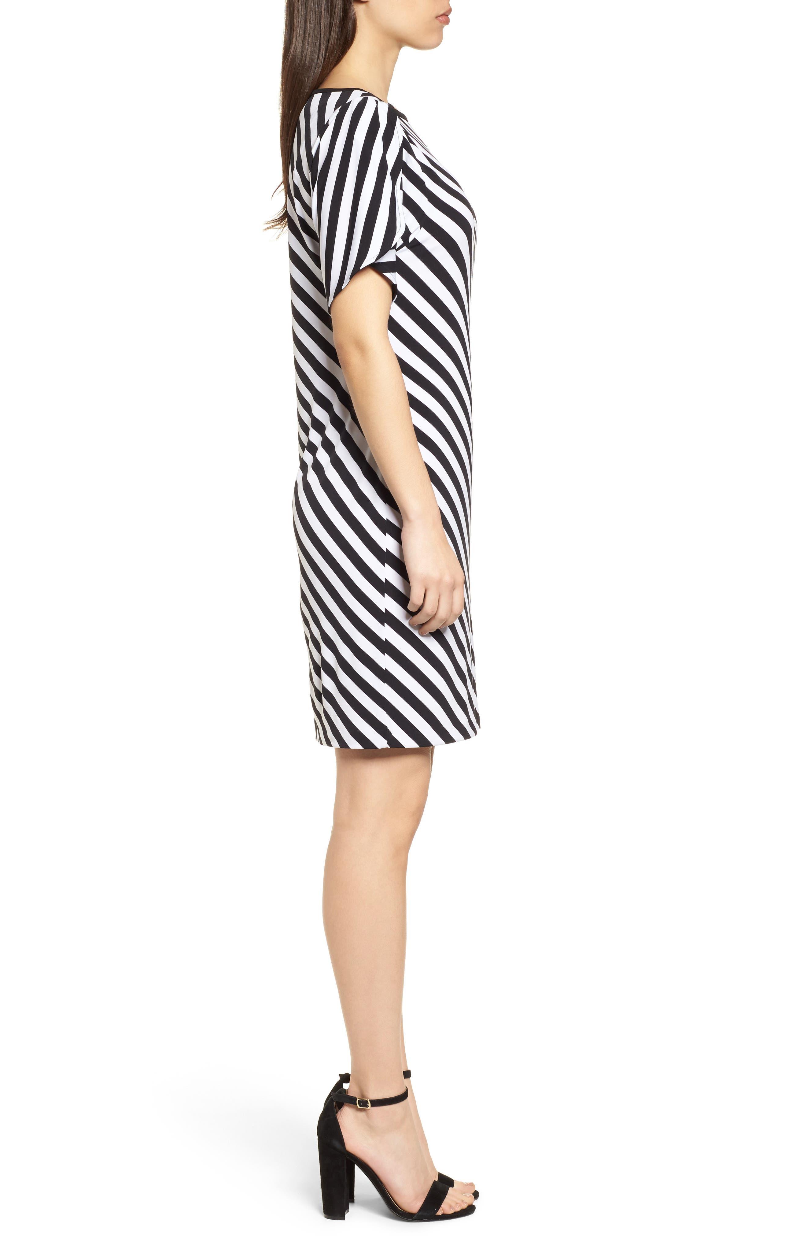 Tulip Sleeve Stripe Dress,                             Alternate thumbnail 3, color,                             Black/ White