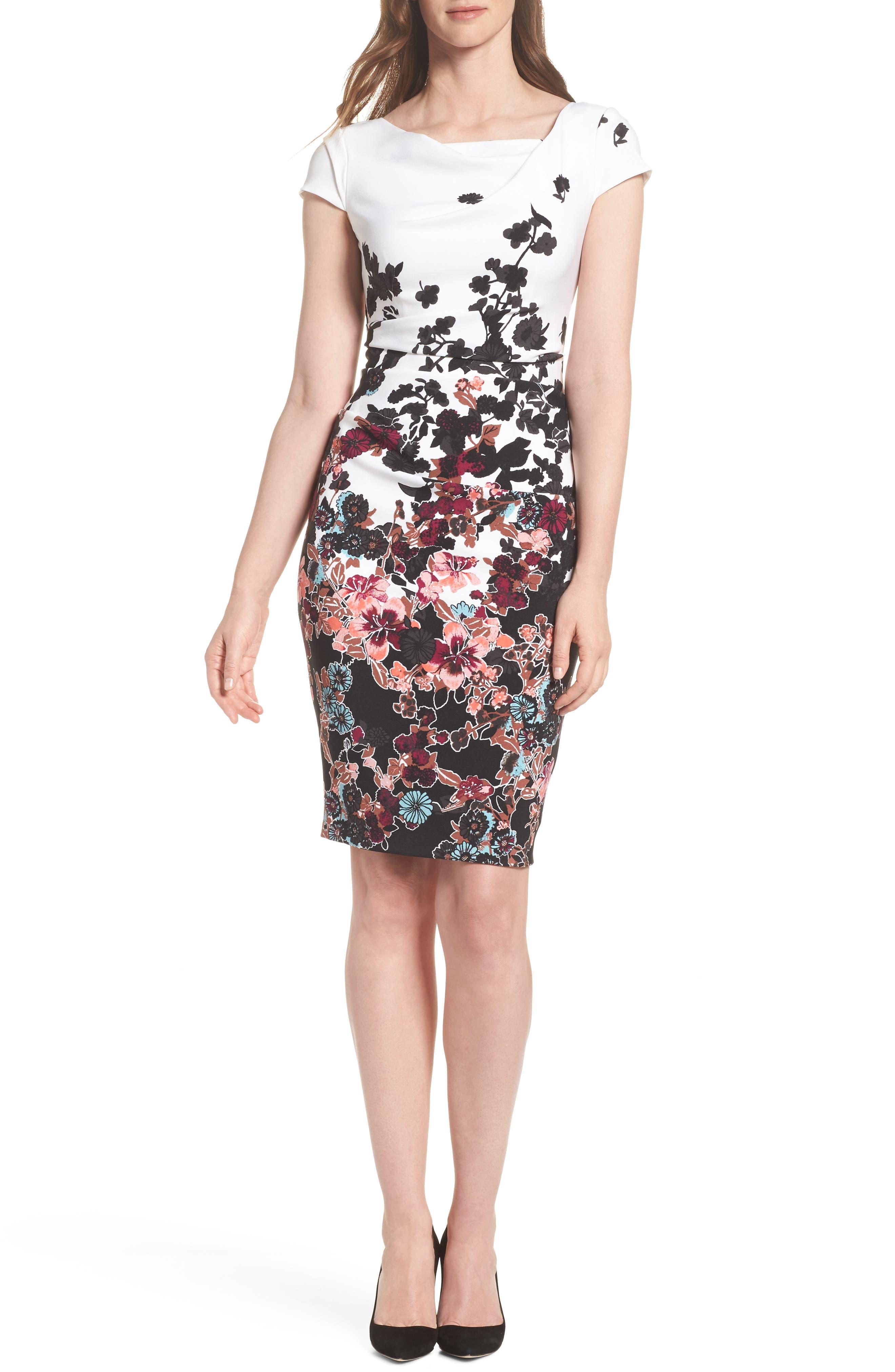 Floral Bliss Cowl Neck Sheath Dress,                         Main,                         color, Ivory Multi