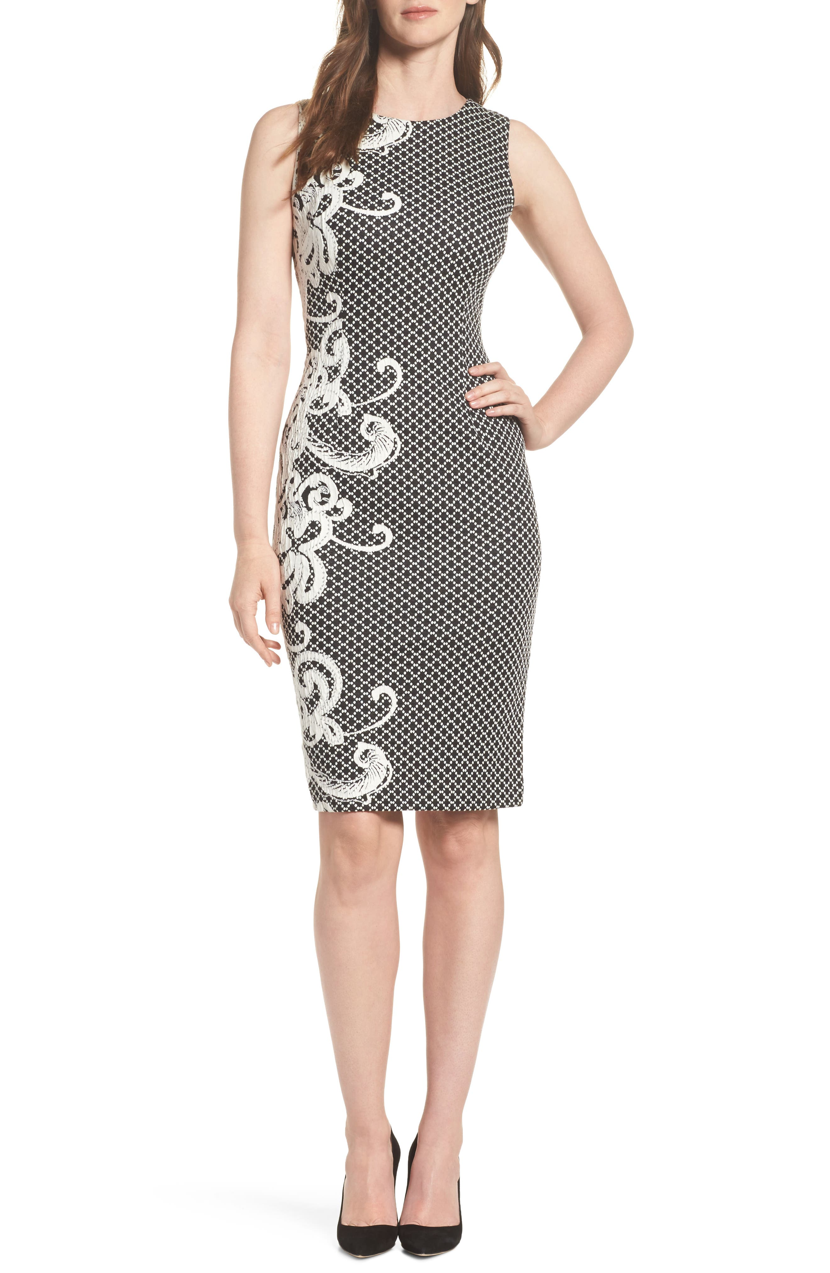 Scroll Border Knit Sheath,                         Main,                         color, Black/ Ivory
