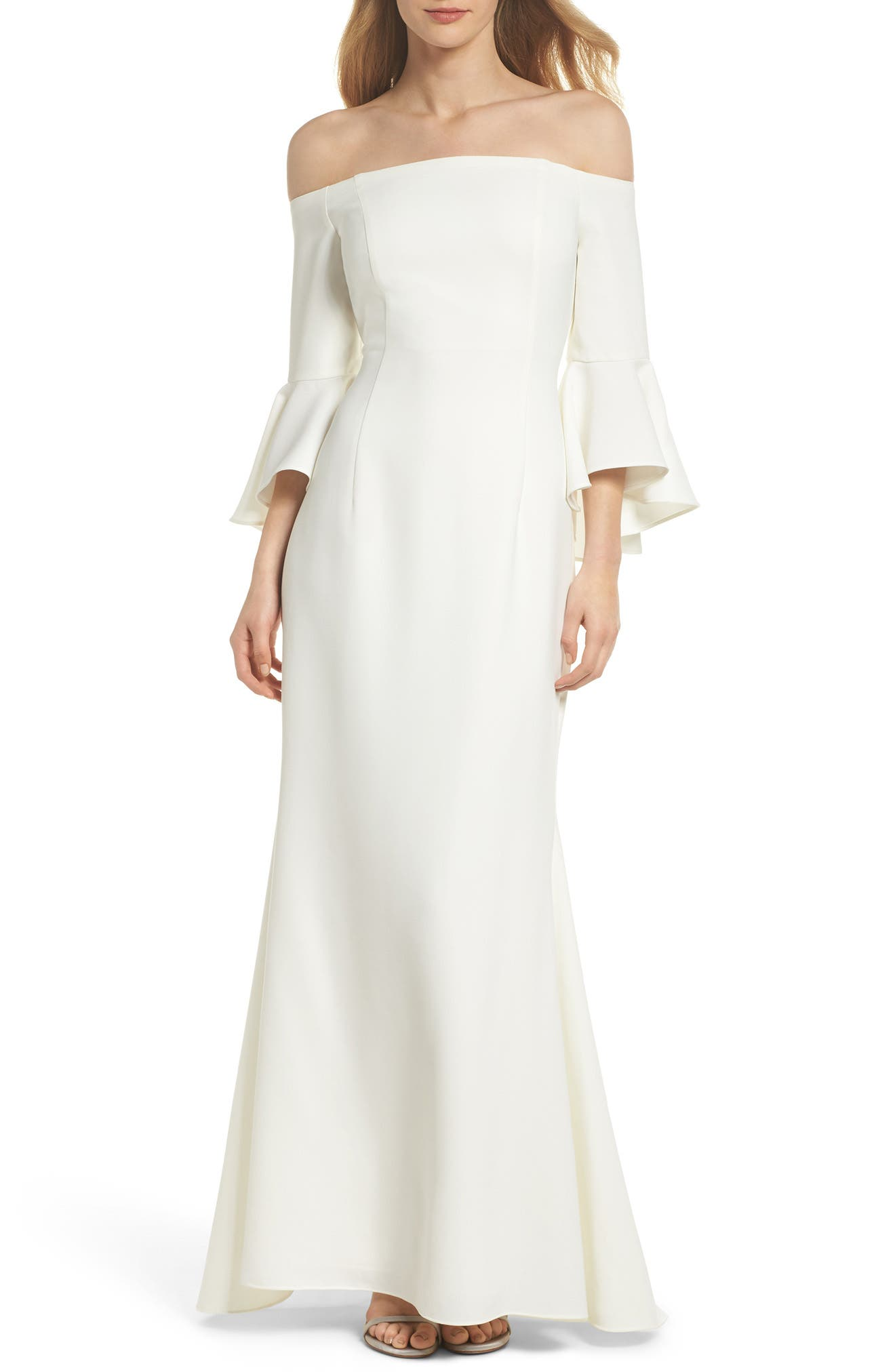 Off The Shoulder Gown,                         Main,                         color, Ivory