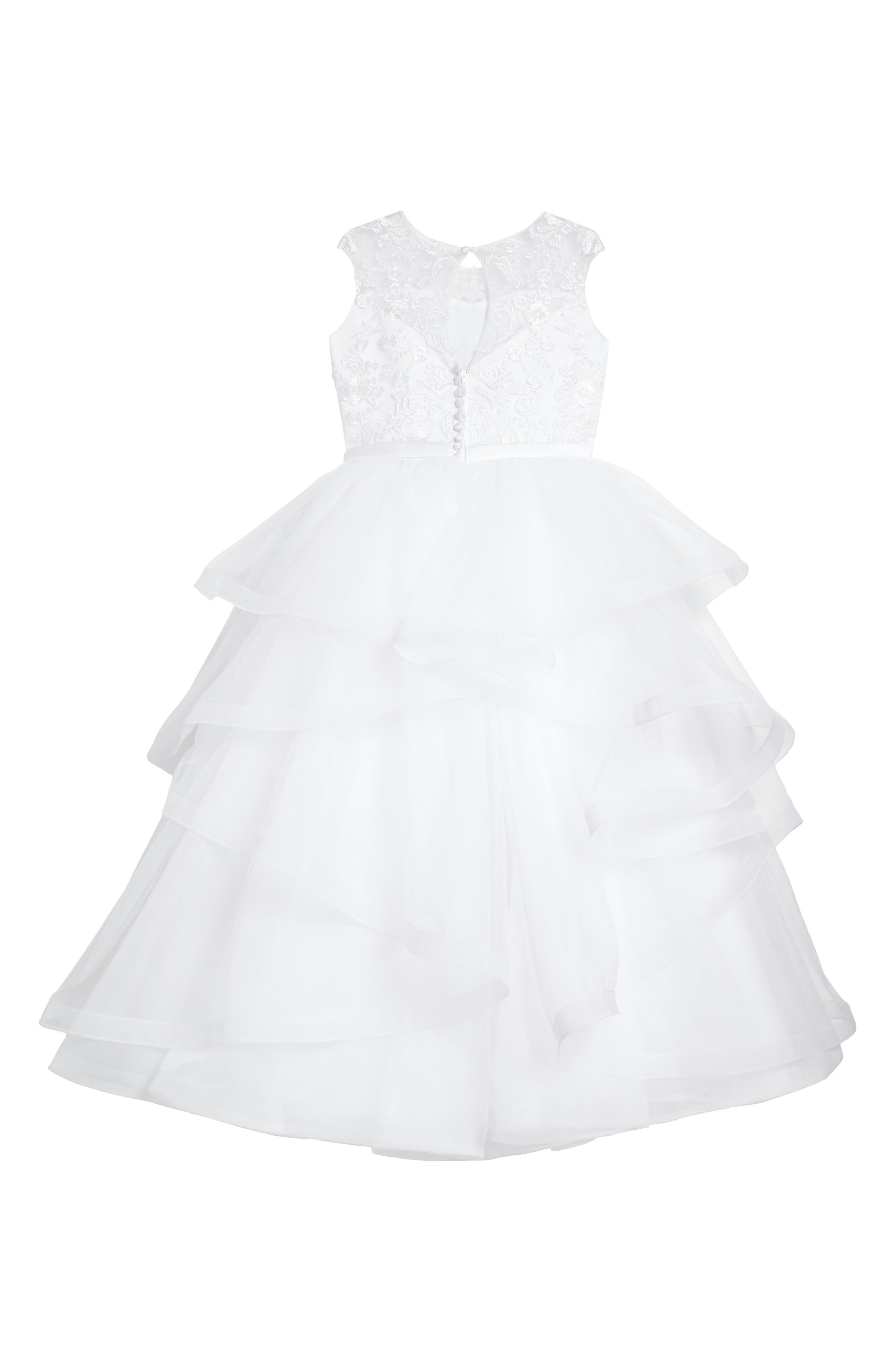 Tiered First Communion Dress,                             Alternate thumbnail 2, color,                             White