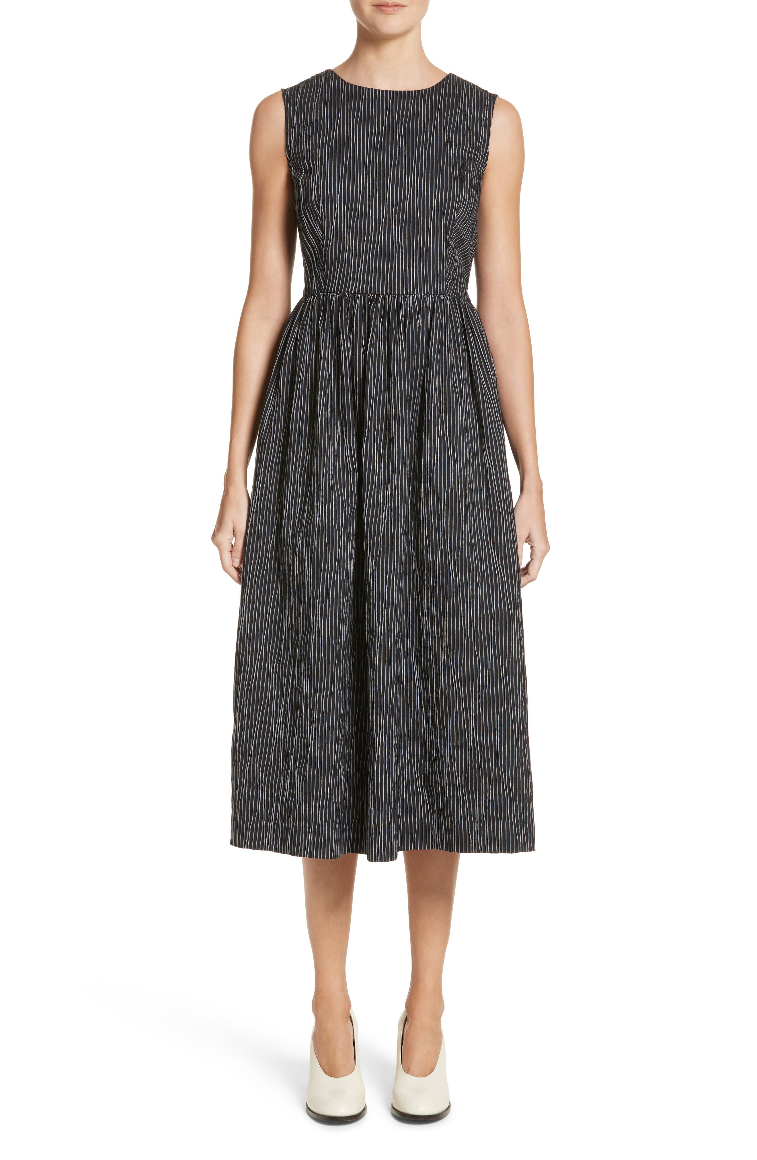 Stripe Crinkle Cotton Blend Midi Dress,                         Main,                         color, Black/ White Stripe