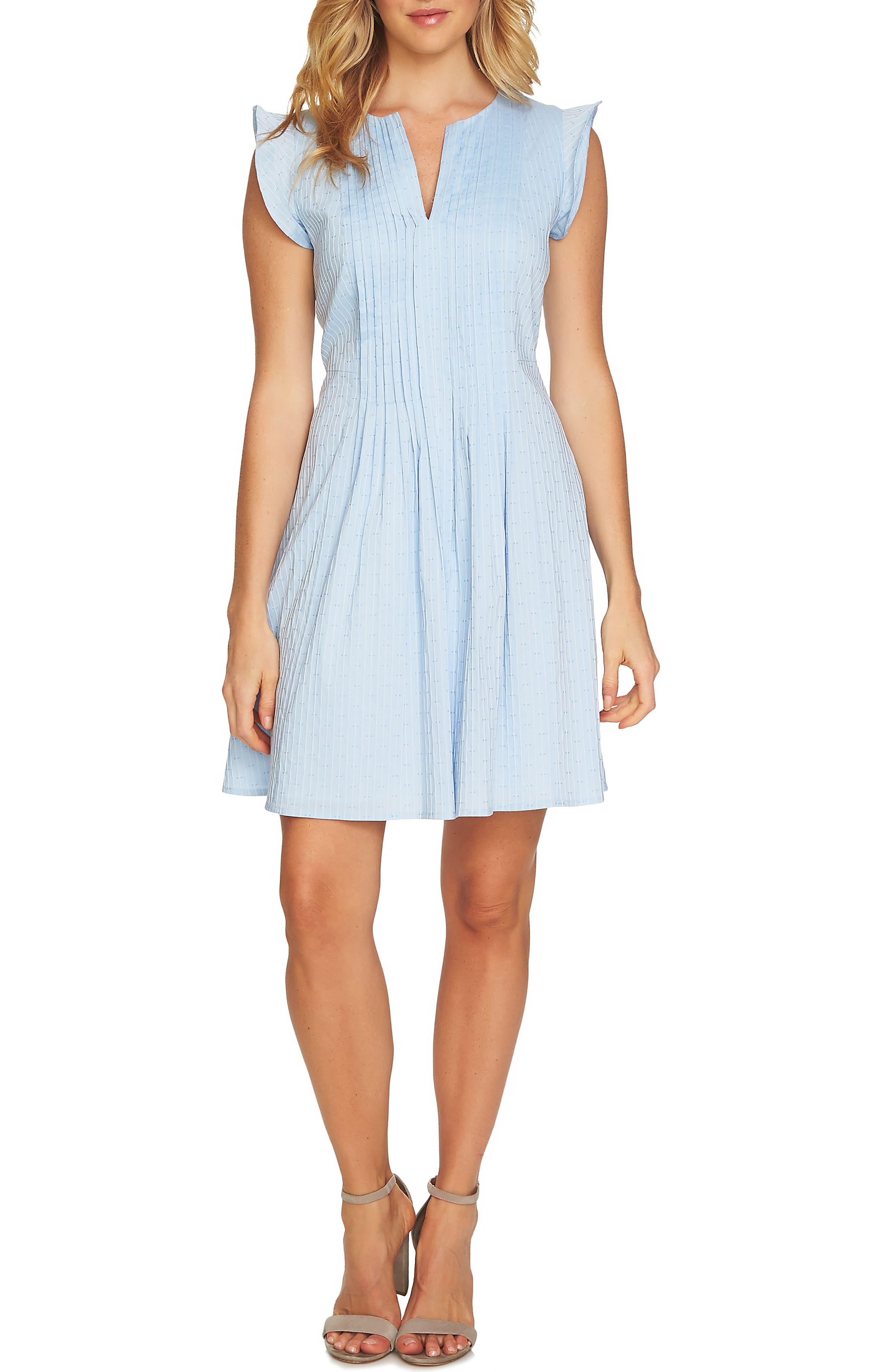 Flutter Sleeve Pintuck Dress,                             Main thumbnail 1, color,                             Bluebird