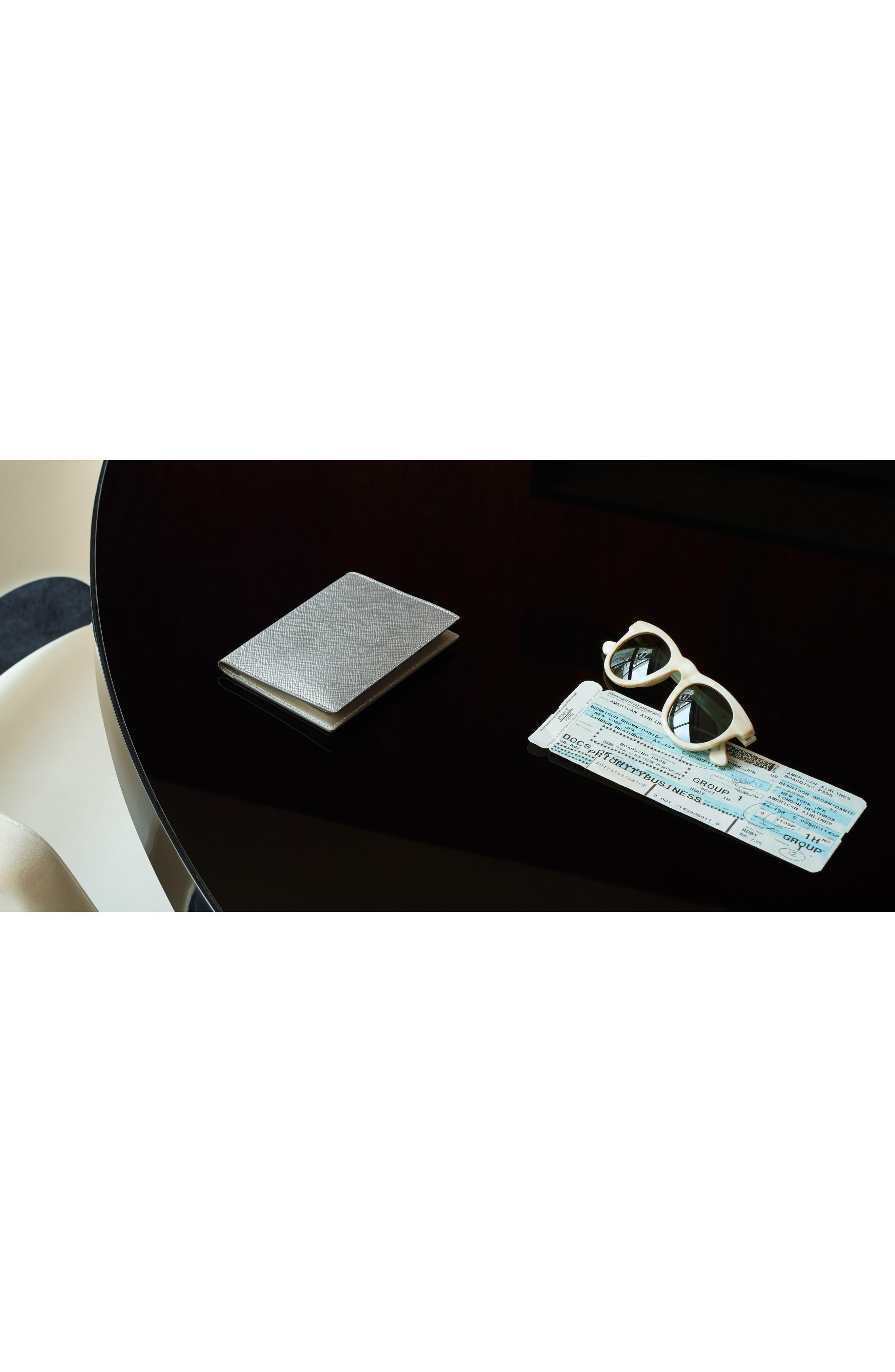 Panama Calfskin Leather Passport Case,                             Alternate thumbnail 3, color,                             Silver