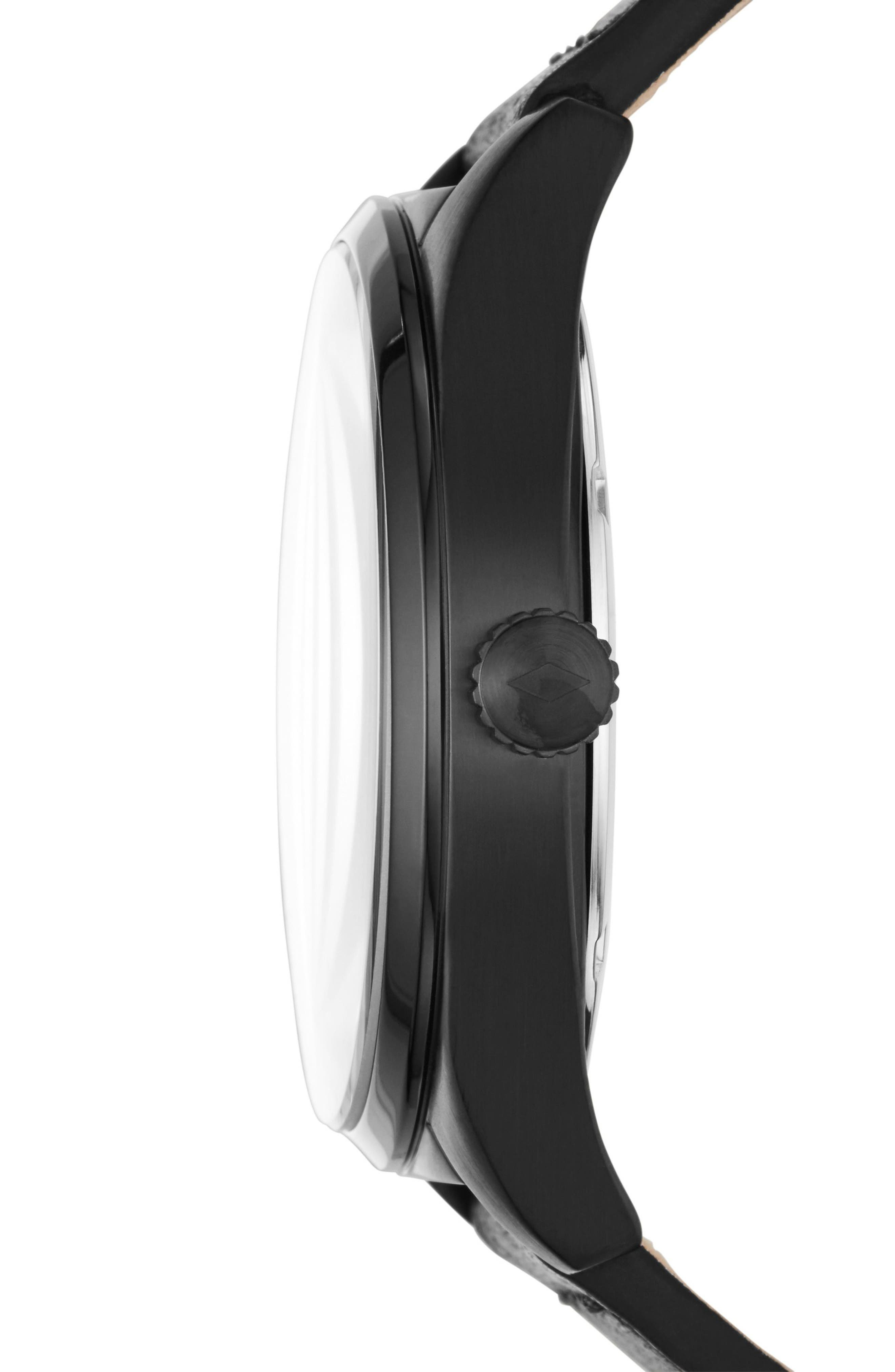 Mathis Leather Strap Watch, 44mm,                             Alternate thumbnail 2, color,                             Black
