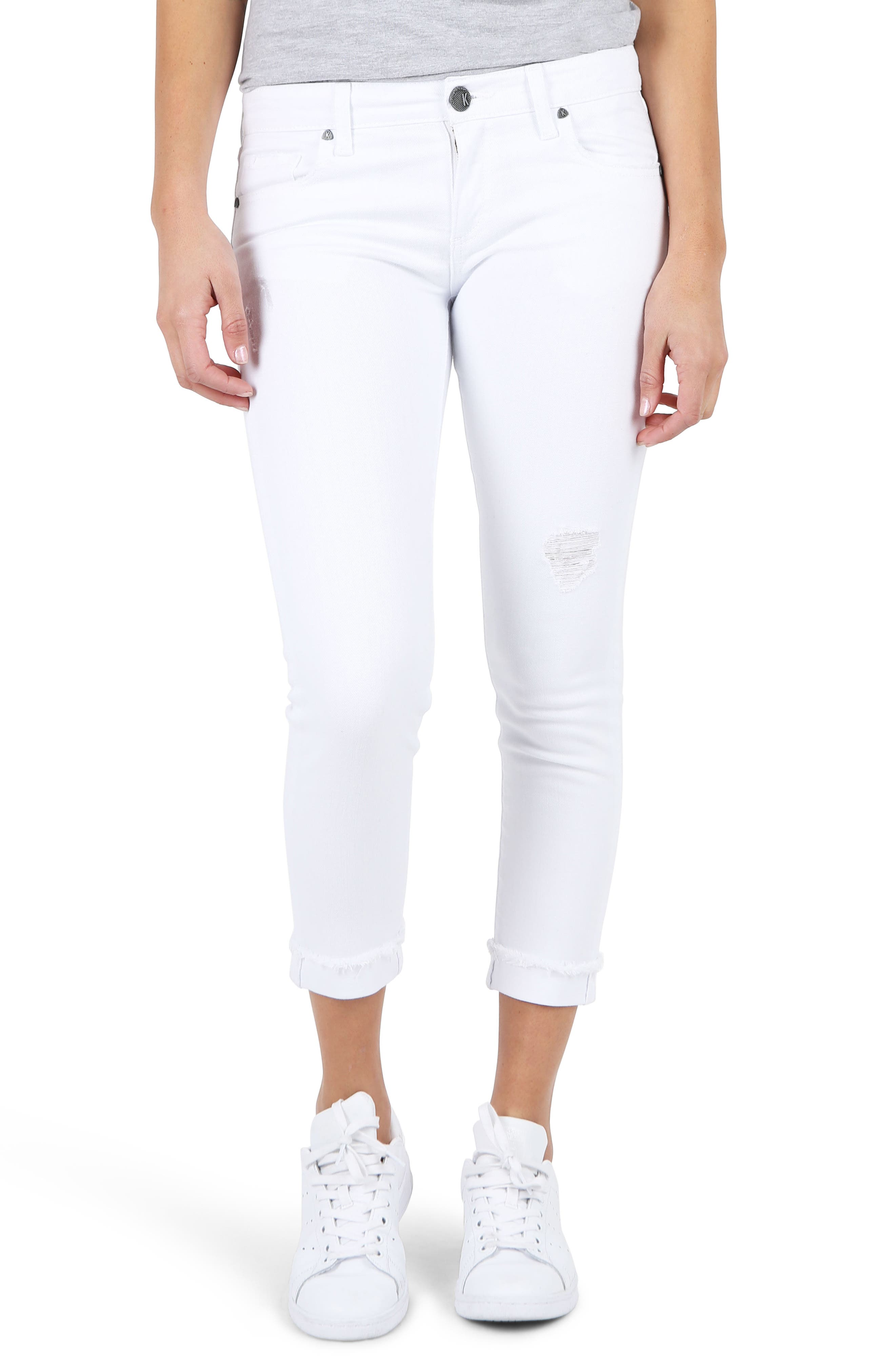 KUT Kollection Amy Crop White Jeans
