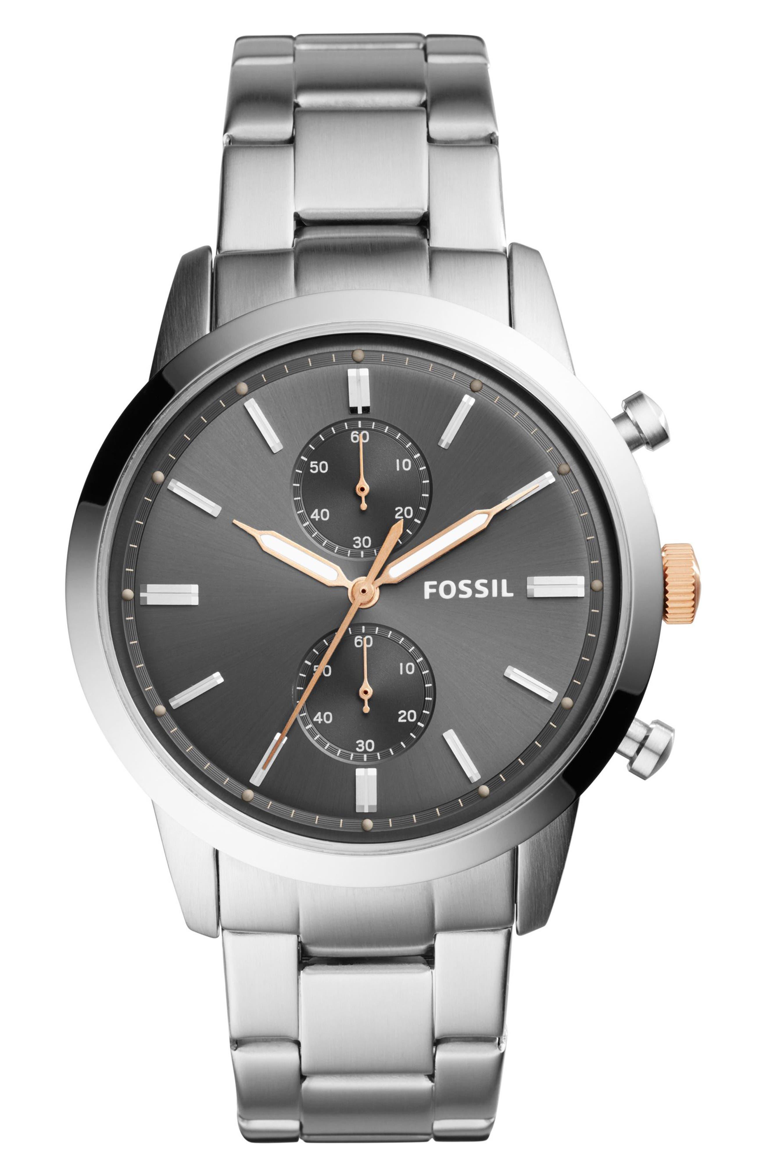 Townsman Chronograph Bracelet Watch, 44mm,                         Main,                         color, Silver/ Grey/ Silver