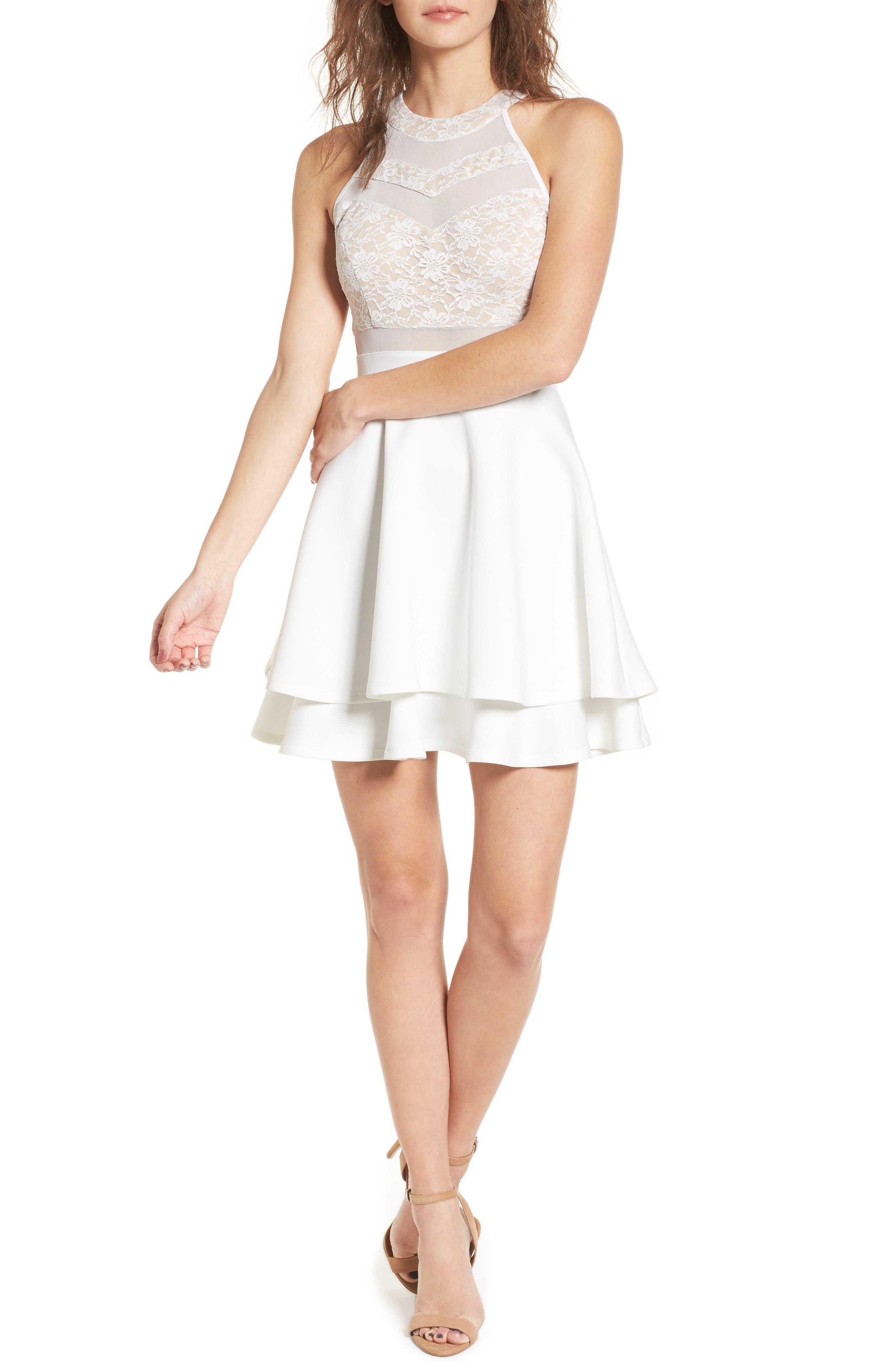 Lace & Mesh Skater Dress,                             Main thumbnail 1, color,                             Ivory/ Nude