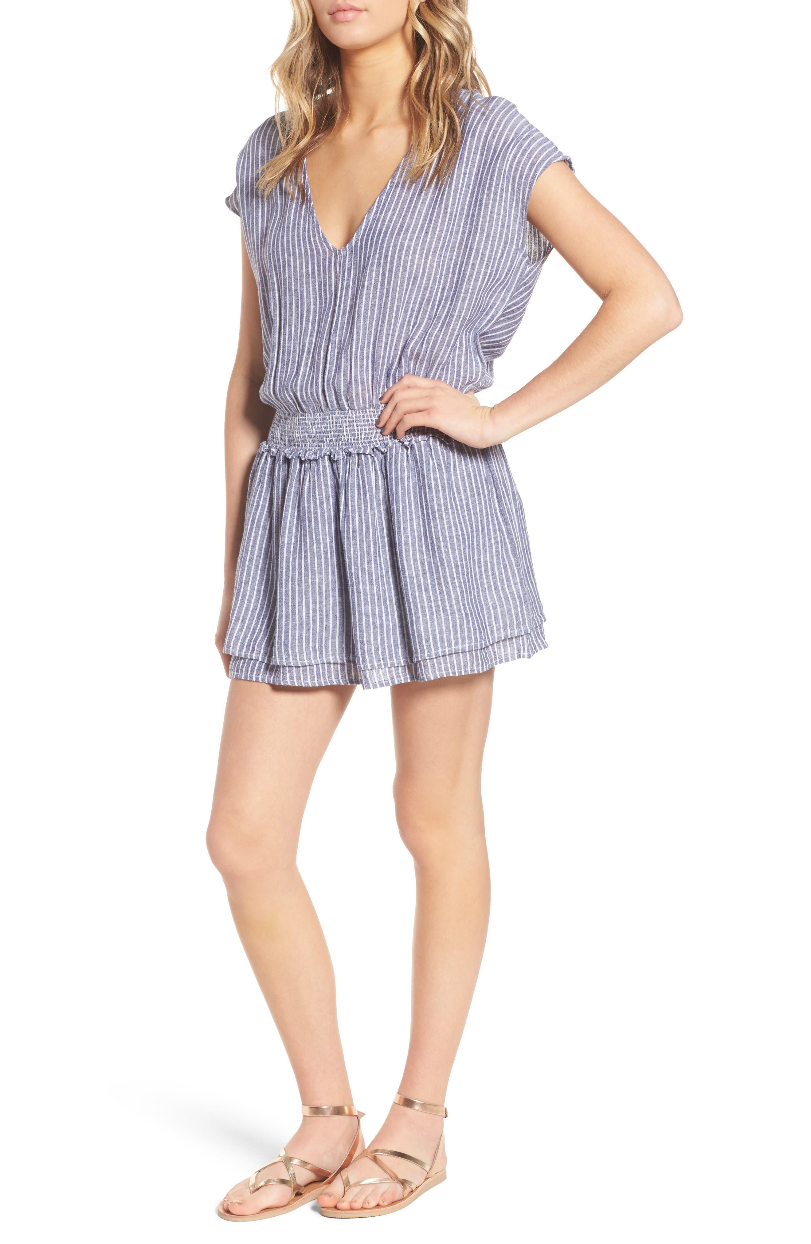 Lucca Linen Blend Dress,                             Main thumbnail 1, color,                             Terrenas Stripe