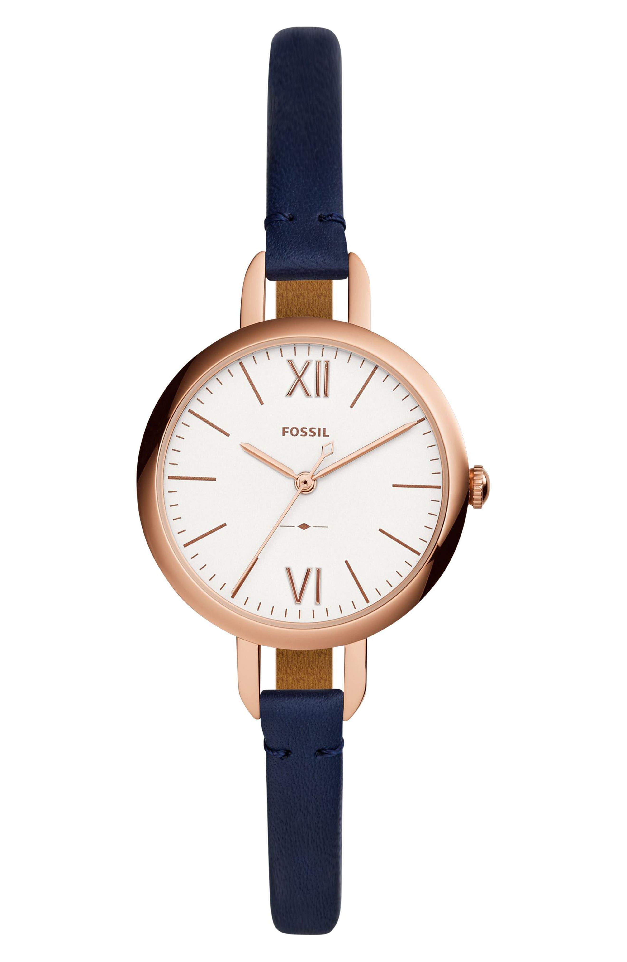 Annette Leather Strap Watch, 36mm,                         Main,                         color, Blue/ Silver/ Rose Gold