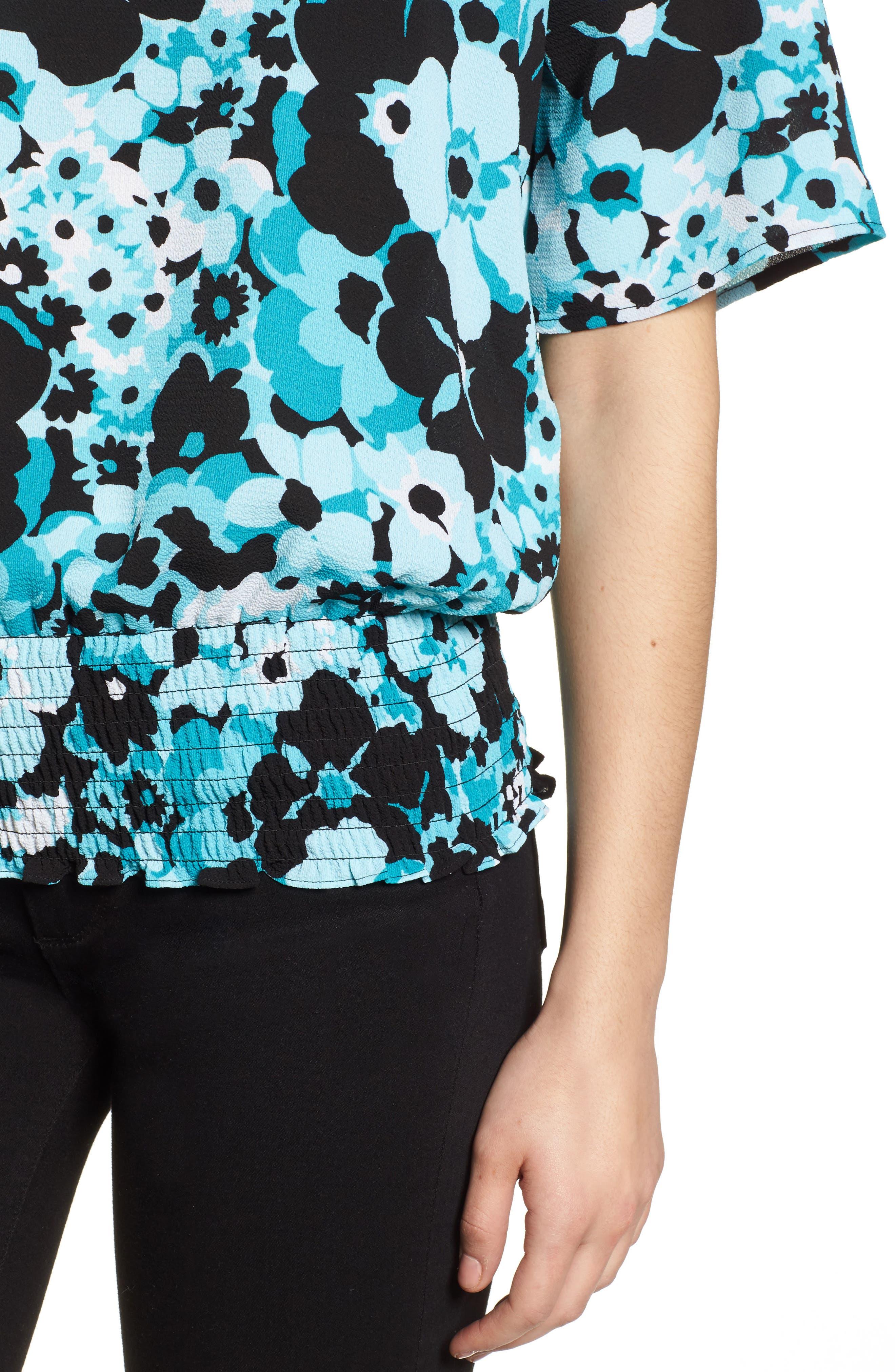 Springtime Floral Kimono Top,                             Alternate thumbnail 4, color,                             Tile Blue/ Black Multi