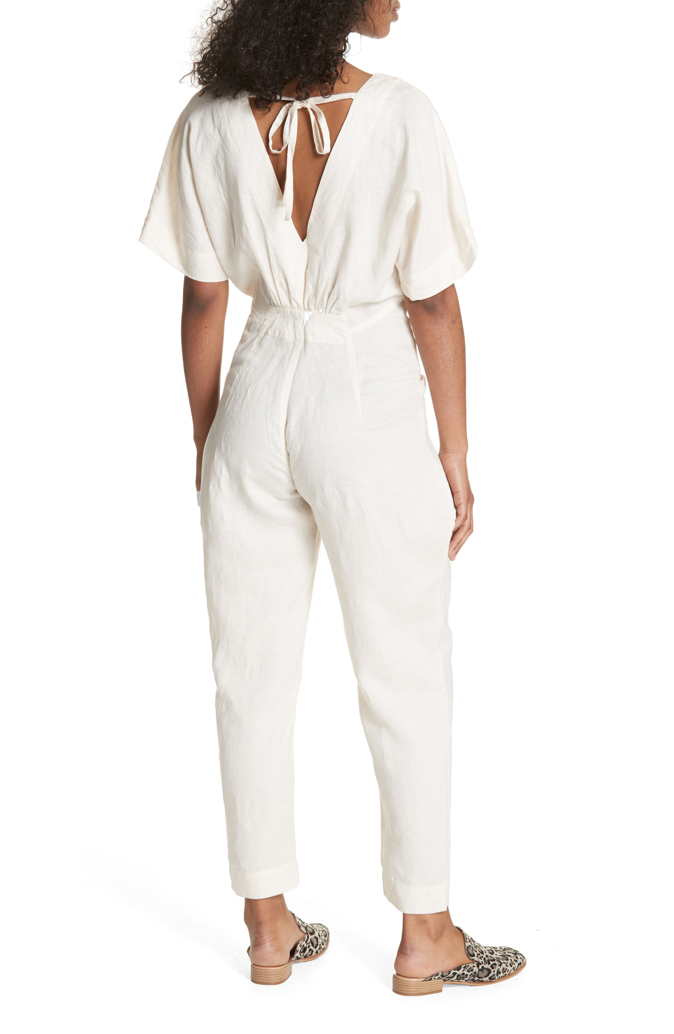 Shining Sun Tie Front Jumpsuit,                             Alternate thumbnail 2, color,                             Ivory