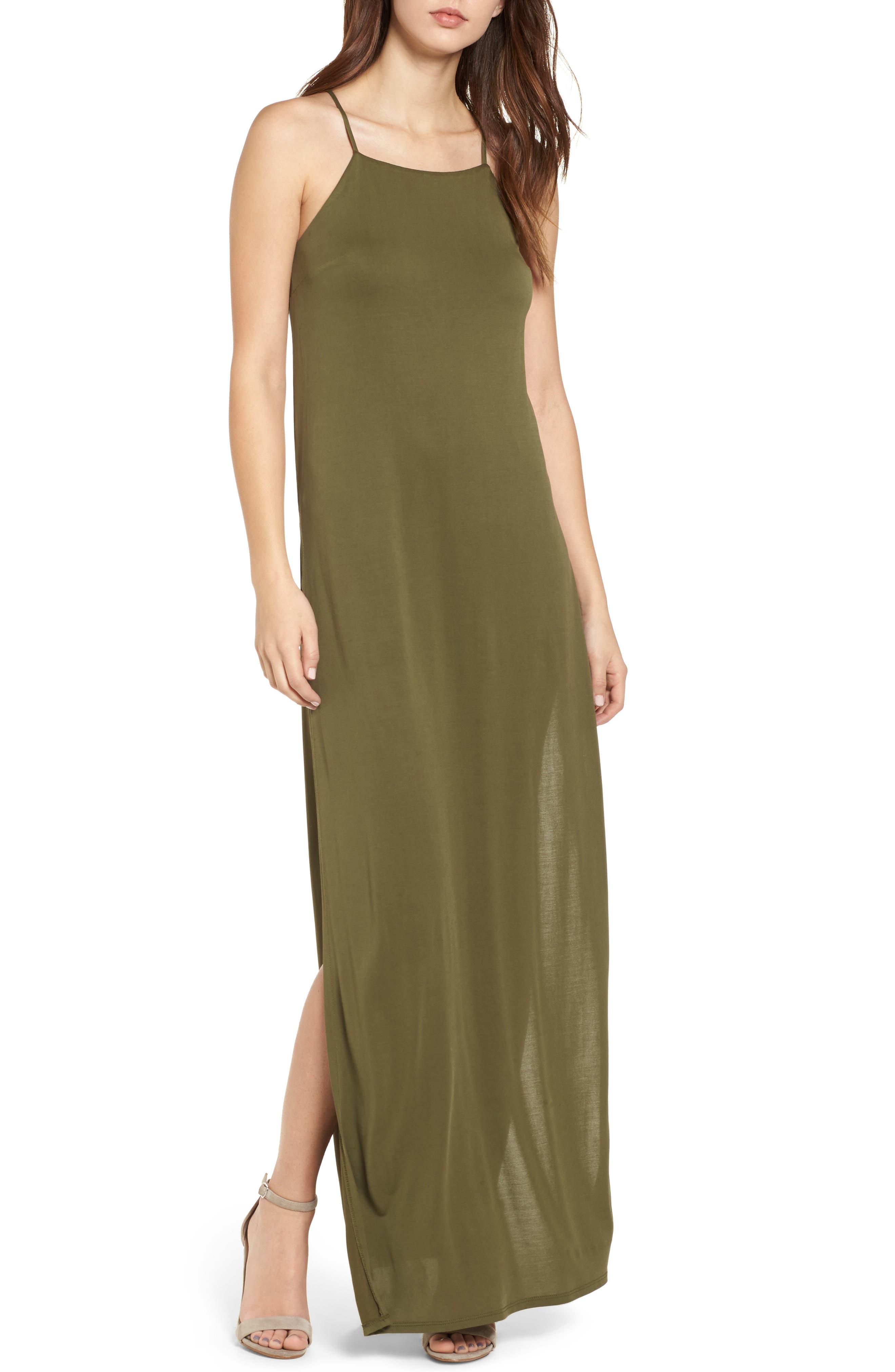 High Slit Maxi Dress,                             Main thumbnail 1, color,                             Olive Sarma