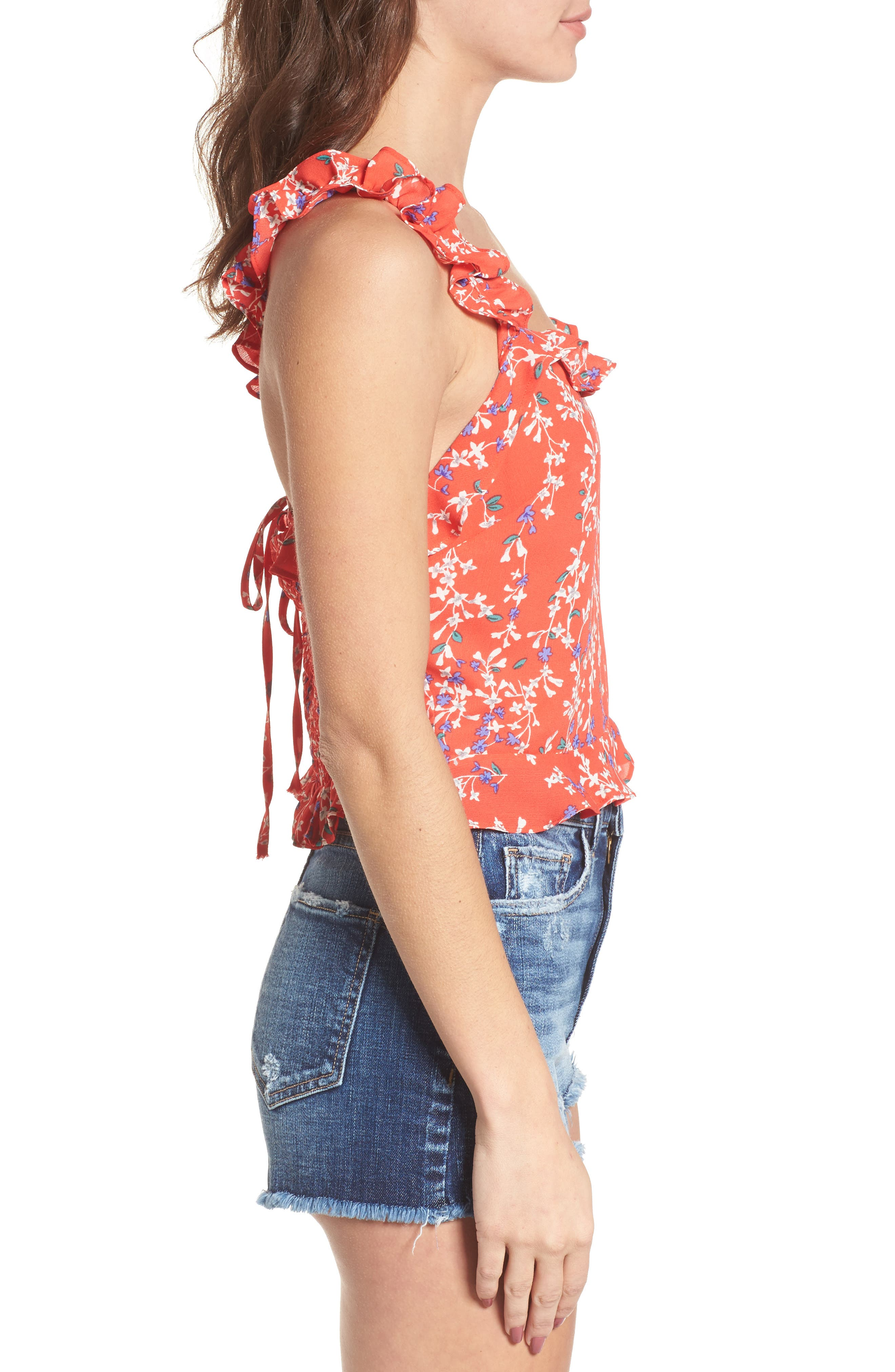 Floral Ruffle Crop Top,                             Alternate thumbnail 4, color,                             Red Floral