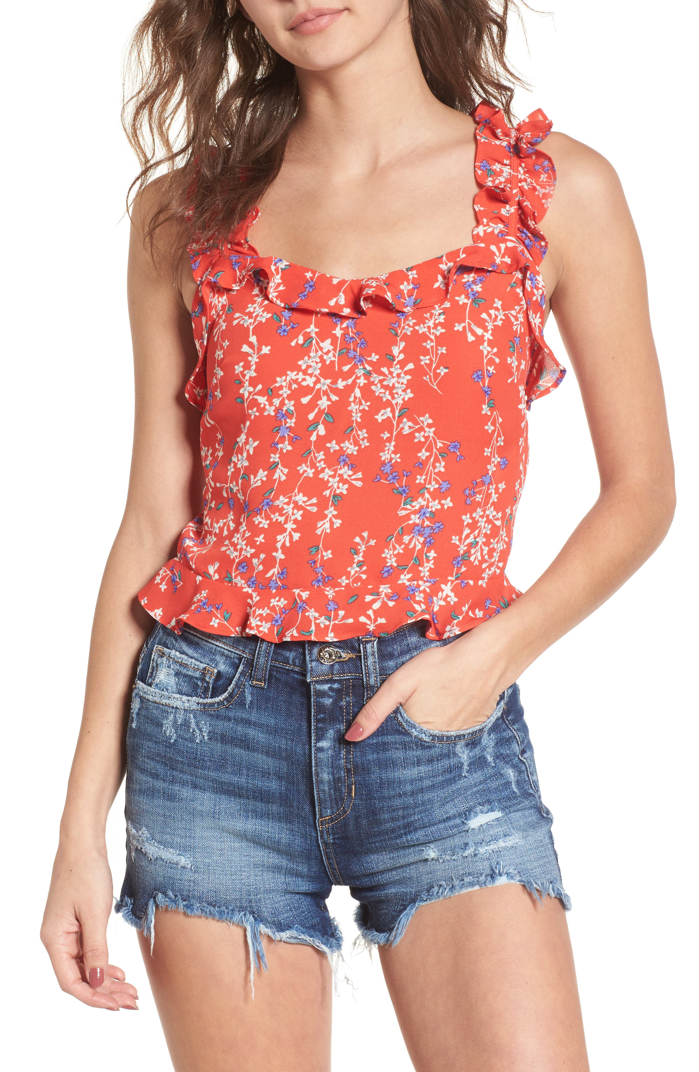 Floral Ruffle Crop Top,                             Main thumbnail 1, color,                             Red Floral