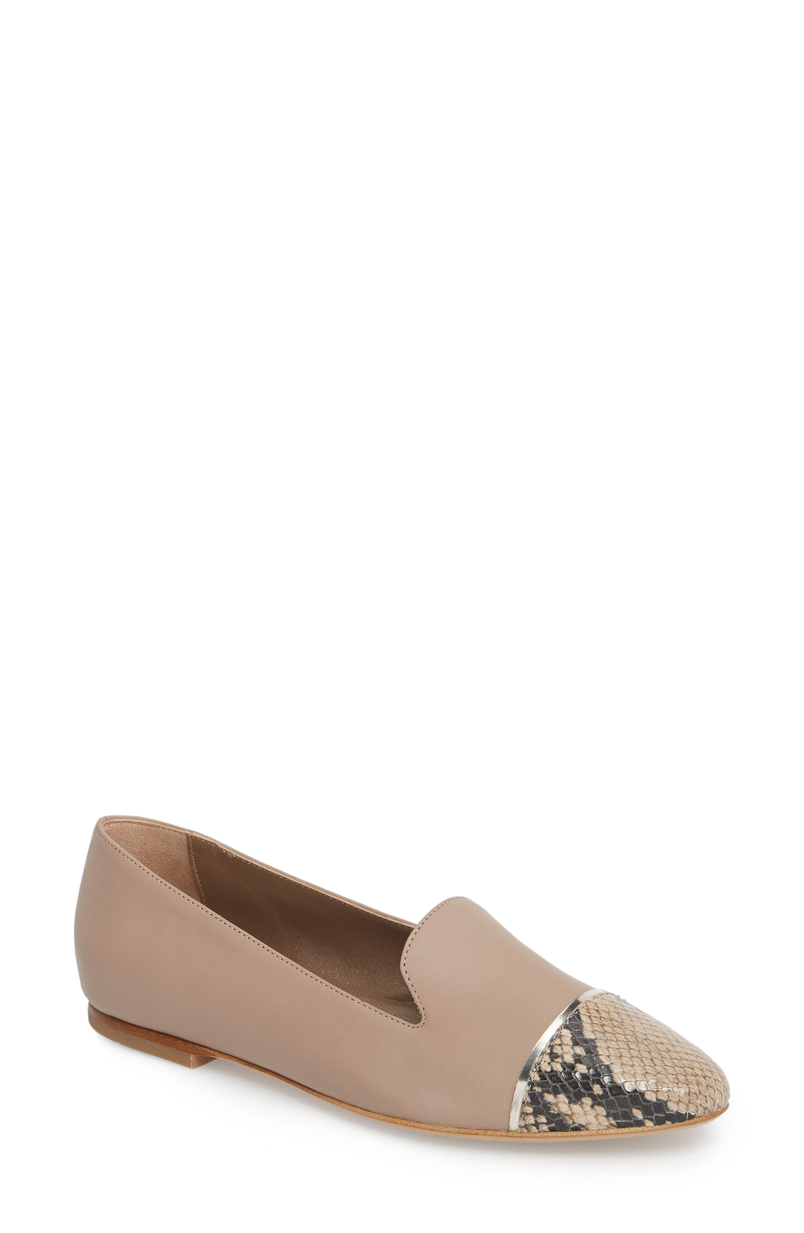 Cap Toe Loafer,                         Main,                         color, Marble Taupe Leather