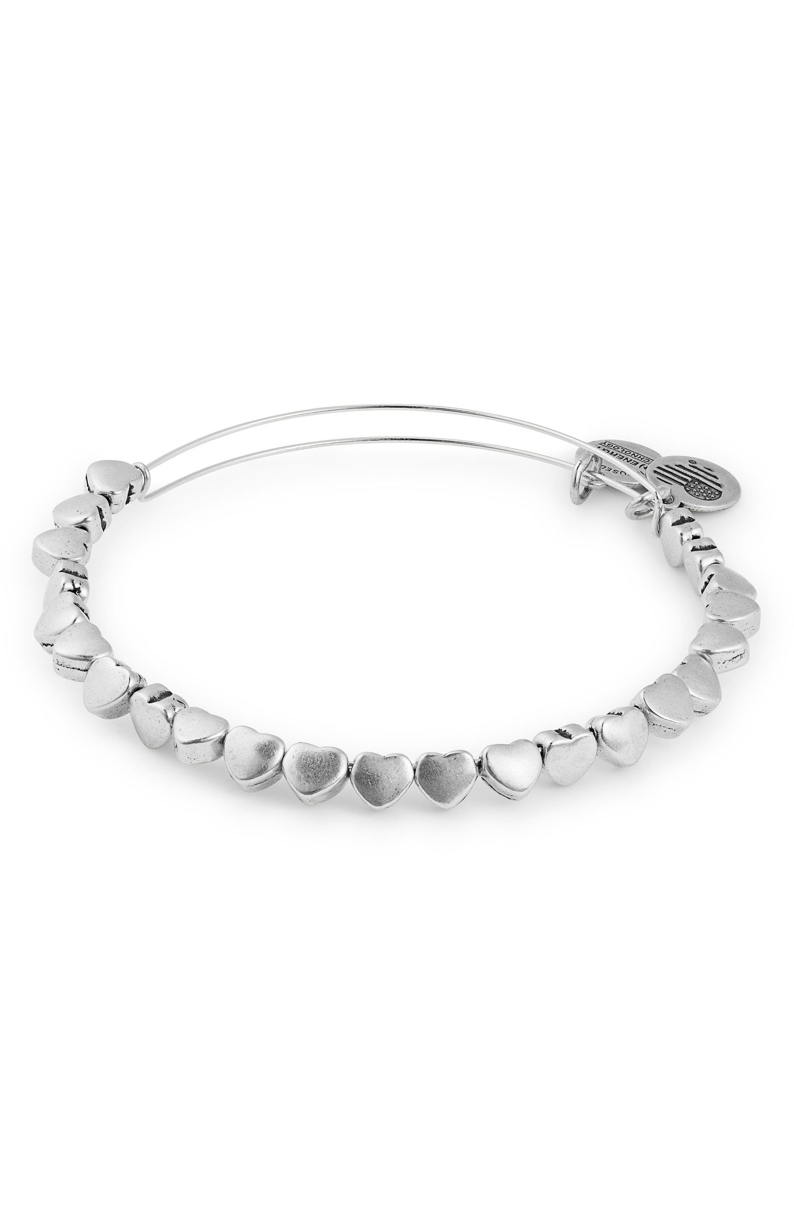 Alex and Ani Heart Beaded Adjustable Wire Bangle