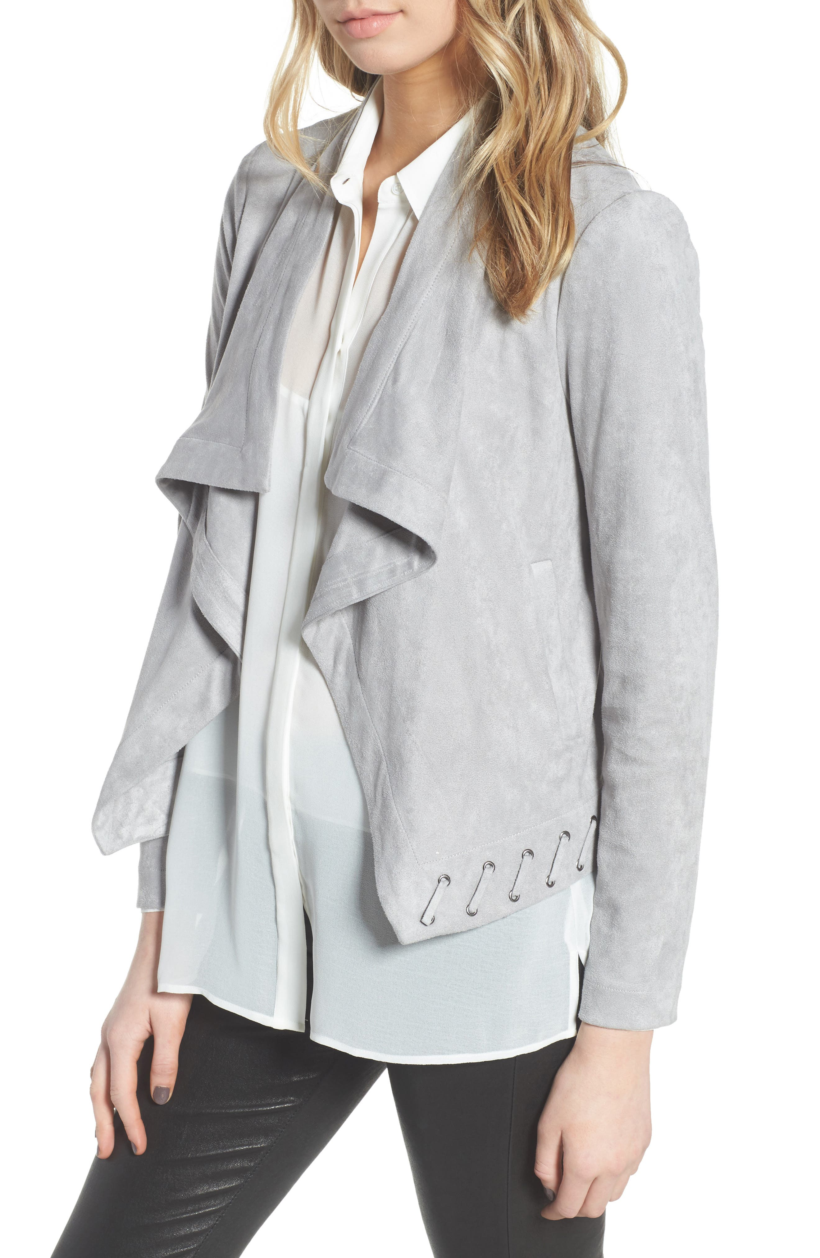 Arly Faux Suede Jacket,                         Main,                         color, Stone Grey