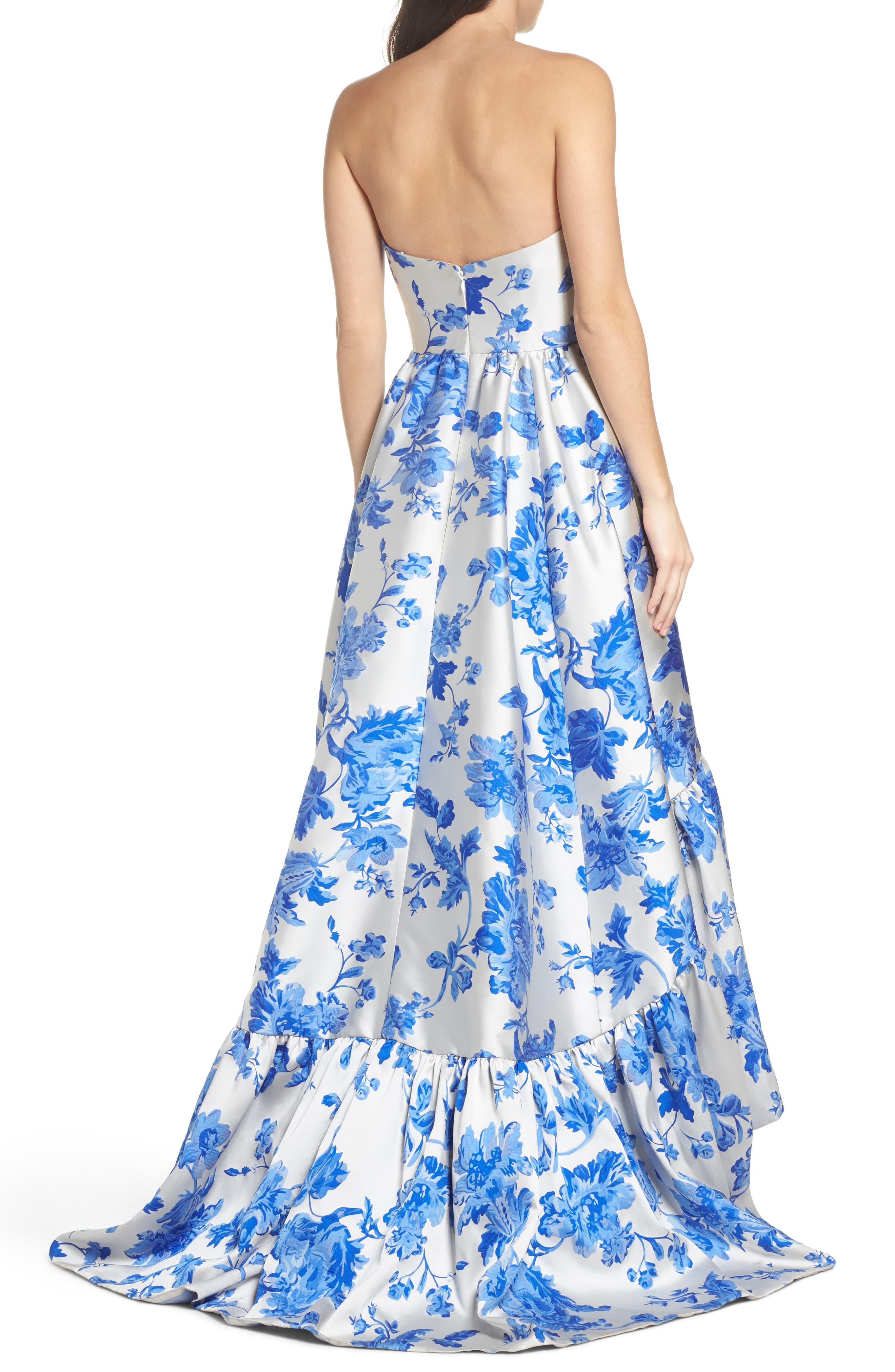 Mestiza Georgiana Floral High/Low Strapless Gown,                             Alternate thumbnail 2, color,                             Porcelain Blue