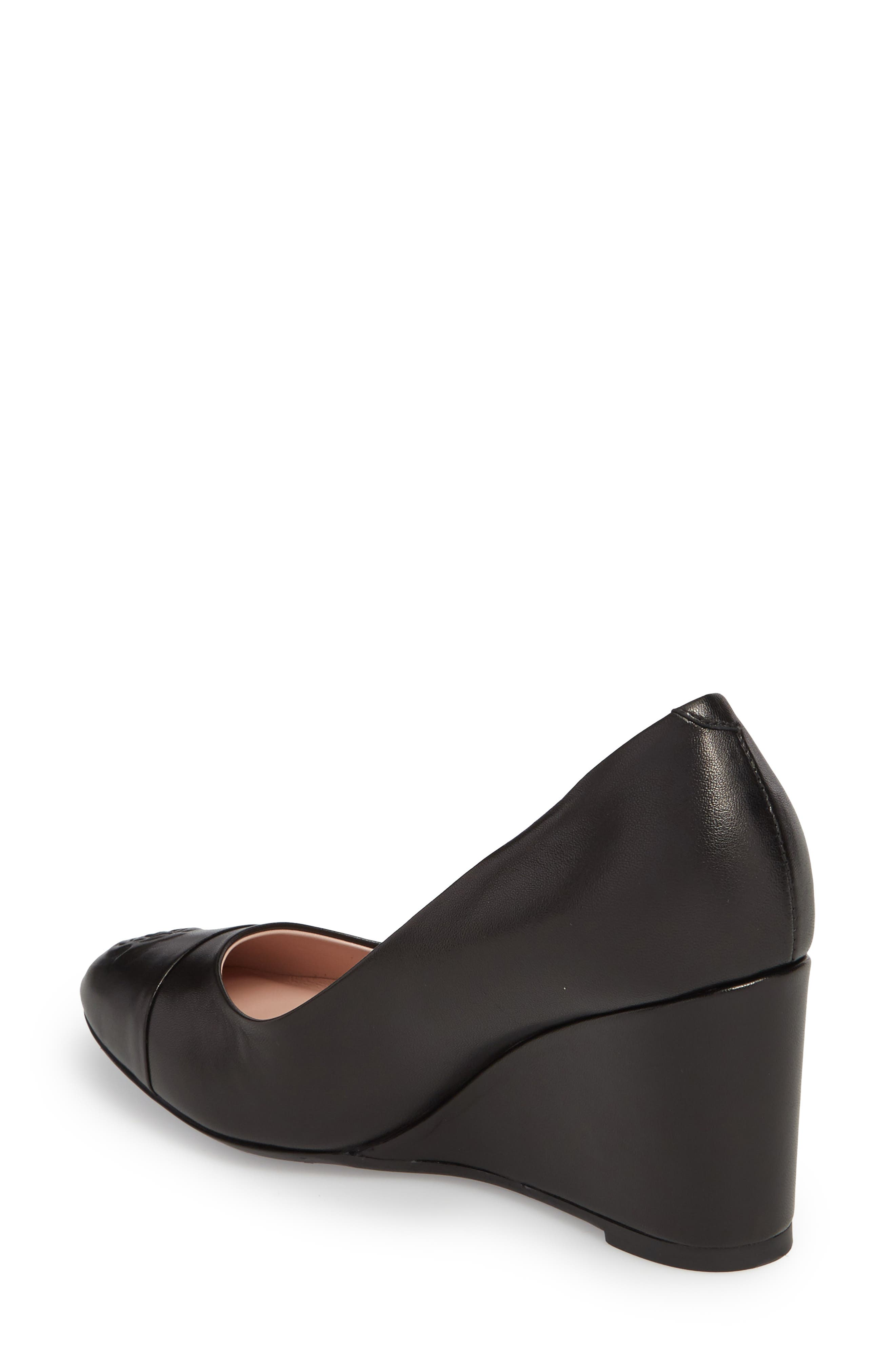 Taryn Rose Isabella Wedge,                             Alternate thumbnail 2, color,                             Black/ Black Leather