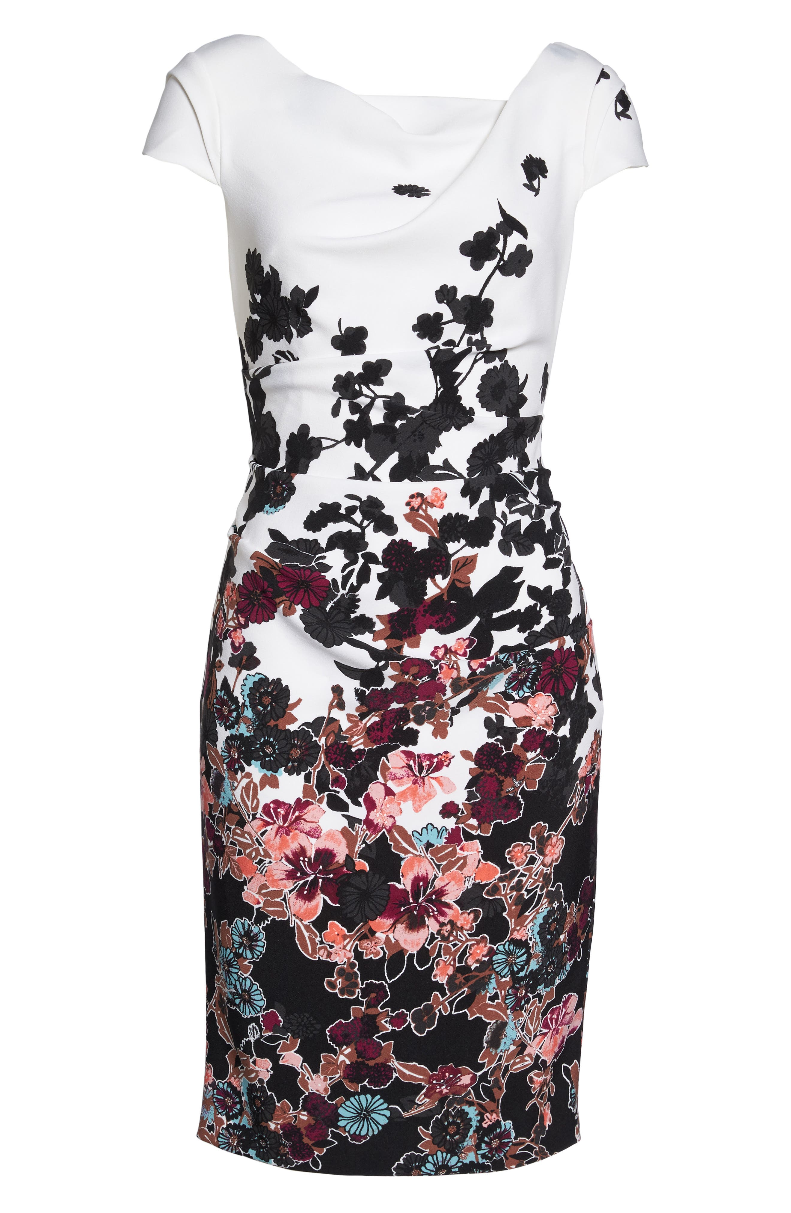 Floral Bliss Cowl Neck Sheath Dress,                             Alternate thumbnail 6, color,                             Ivory Multi