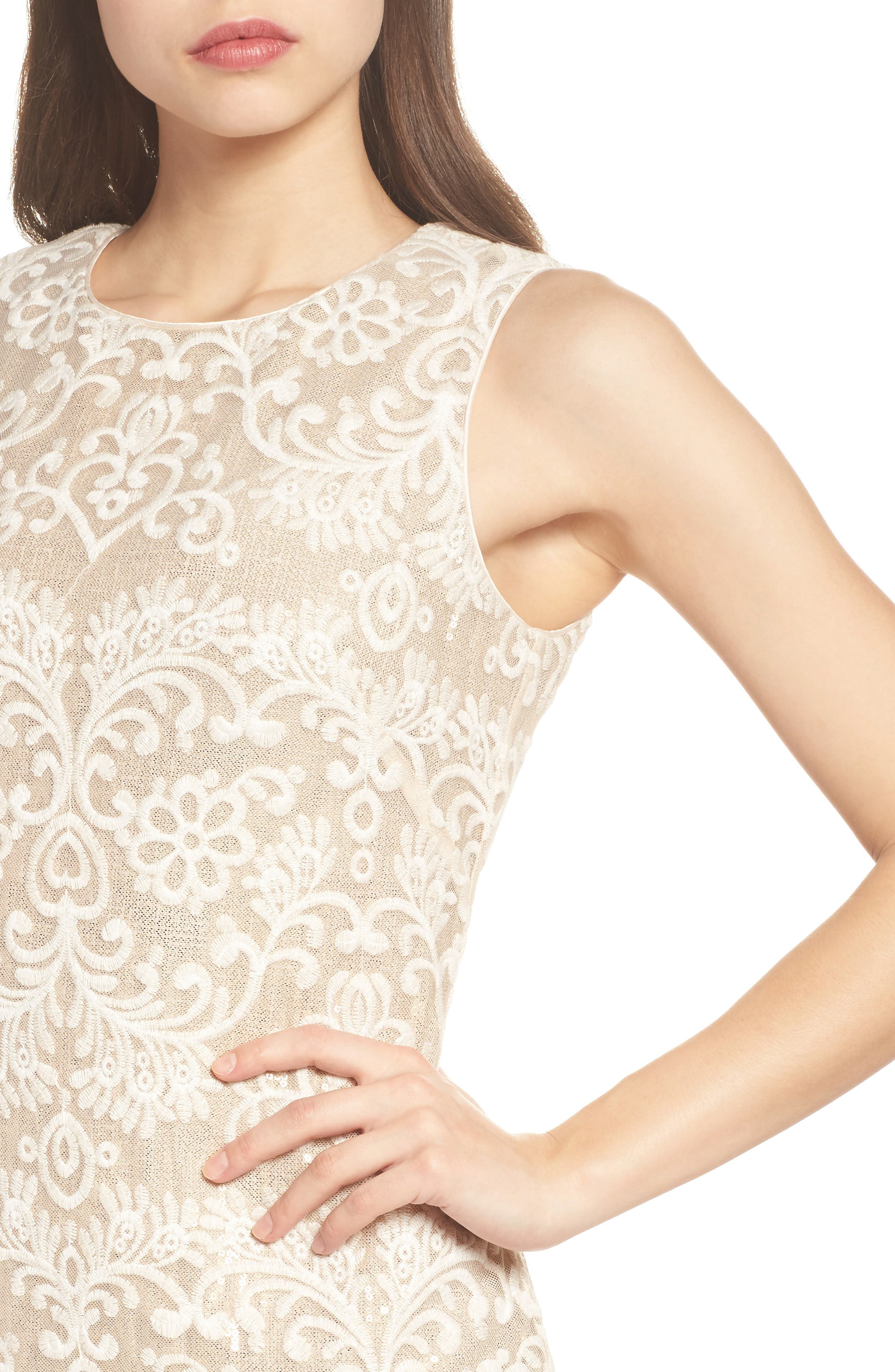 Embroidered Sequin Mesh Sheath Dress,                             Alternate thumbnail 4, color,                             Ivory/ Gold