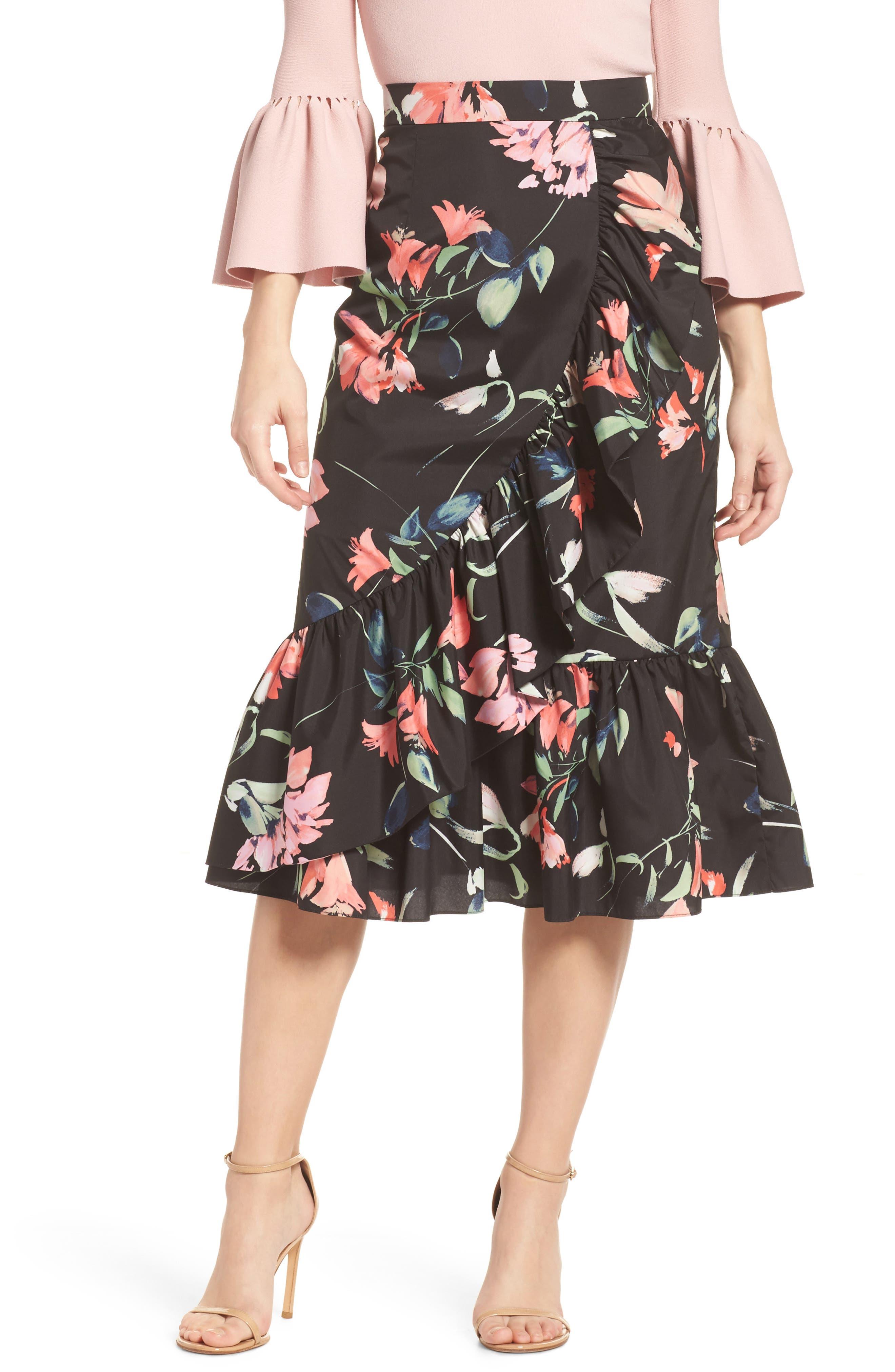 Eliza J Floral Taffeta Ruffle Skirt