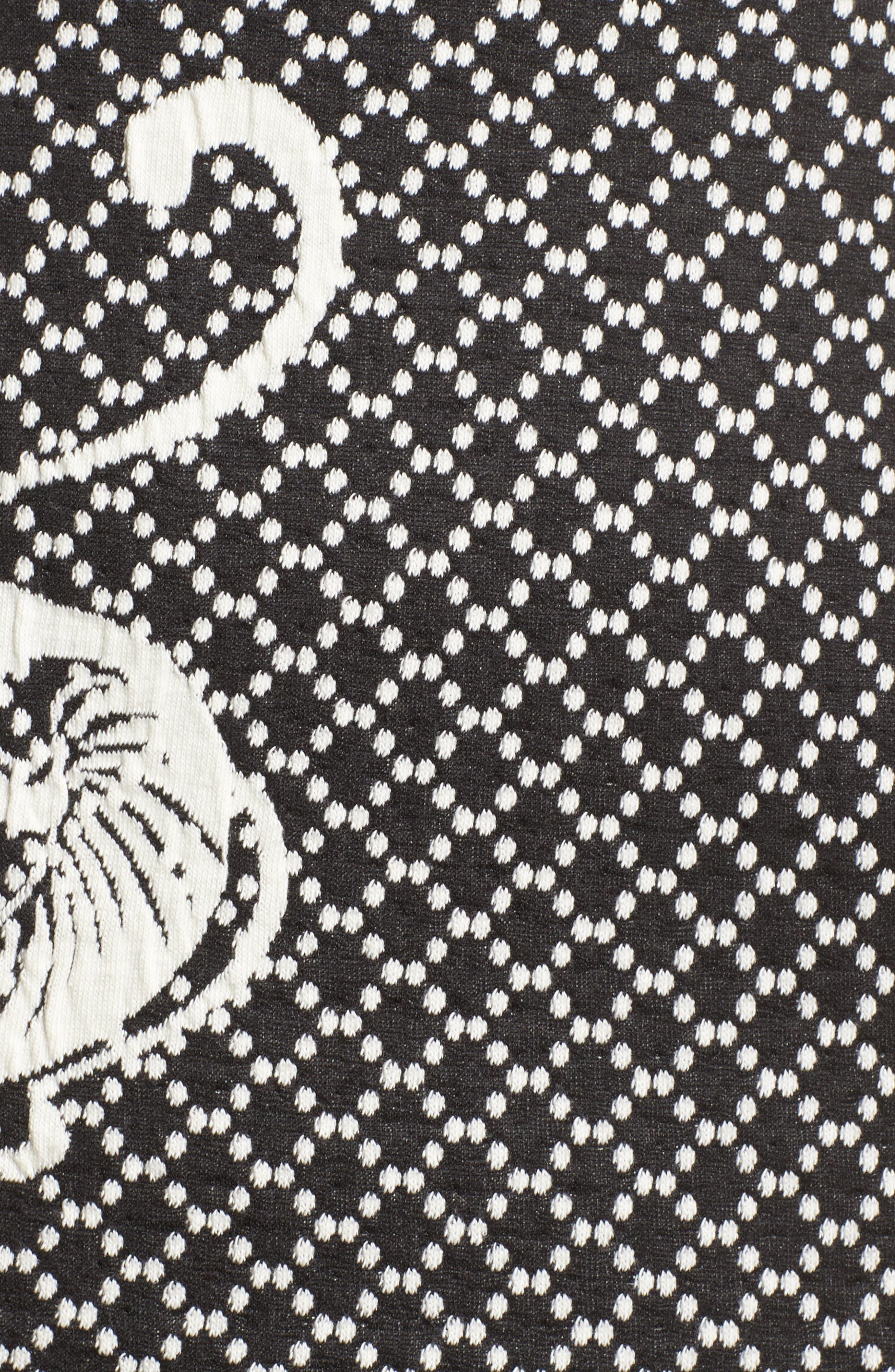 Scroll Border Knit Sheath,                             Alternate thumbnail 5, color,                             Black/ Ivory