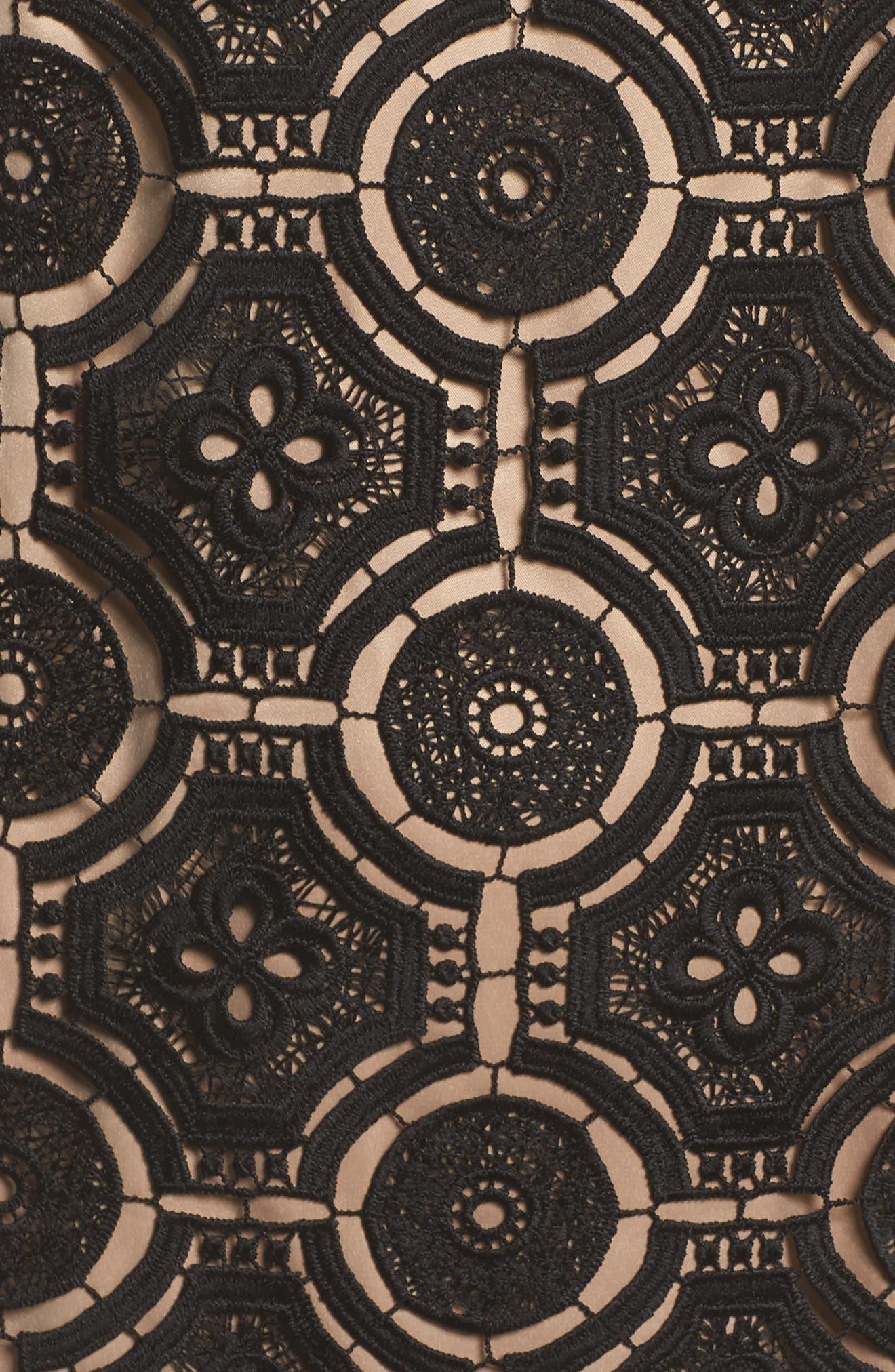 Lace Shift Dress,                             Alternate thumbnail 5, color,                             Black