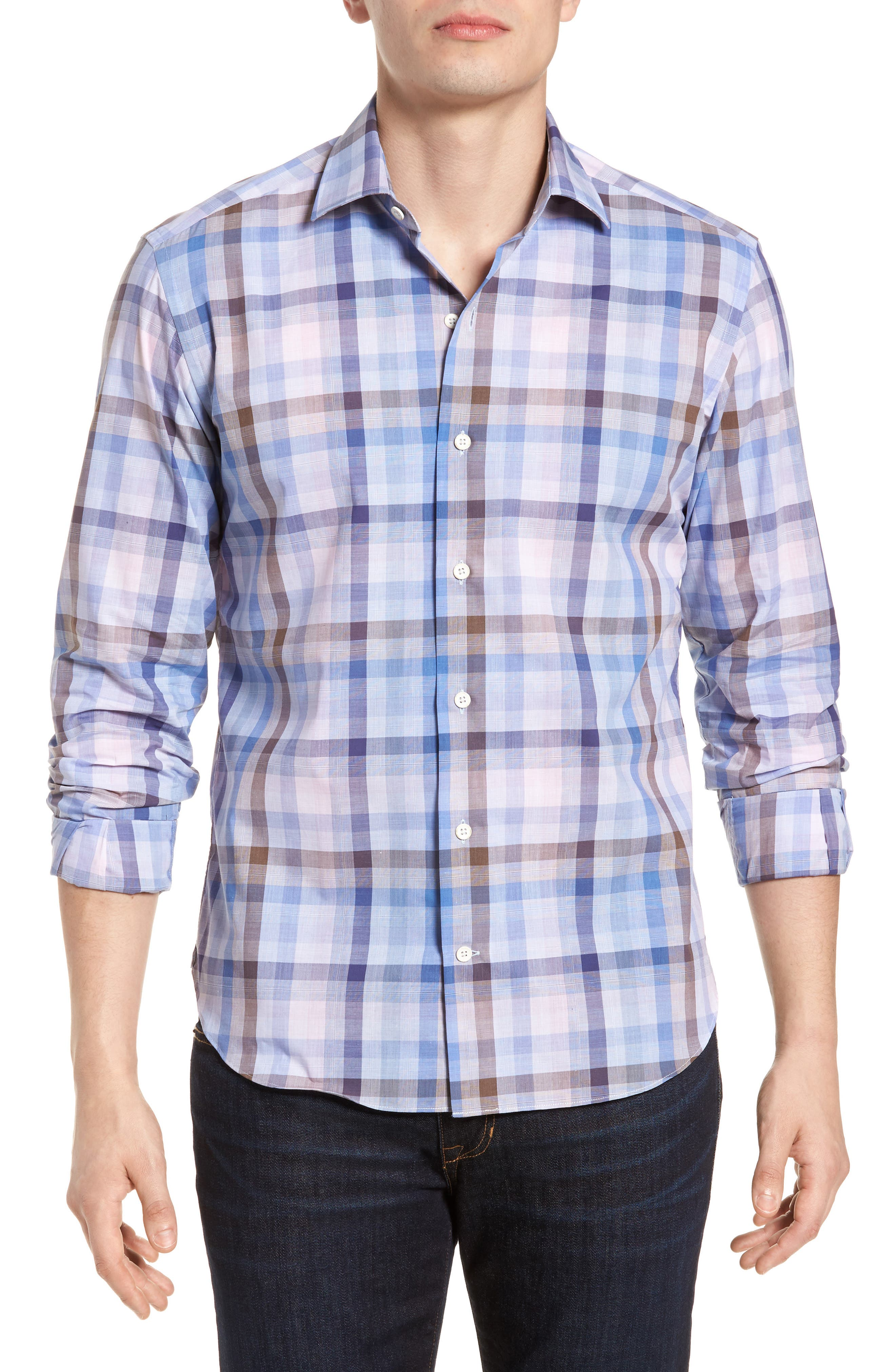 Tailored Fit Plaid Sport Shirt,                         Main,                         color, Pink