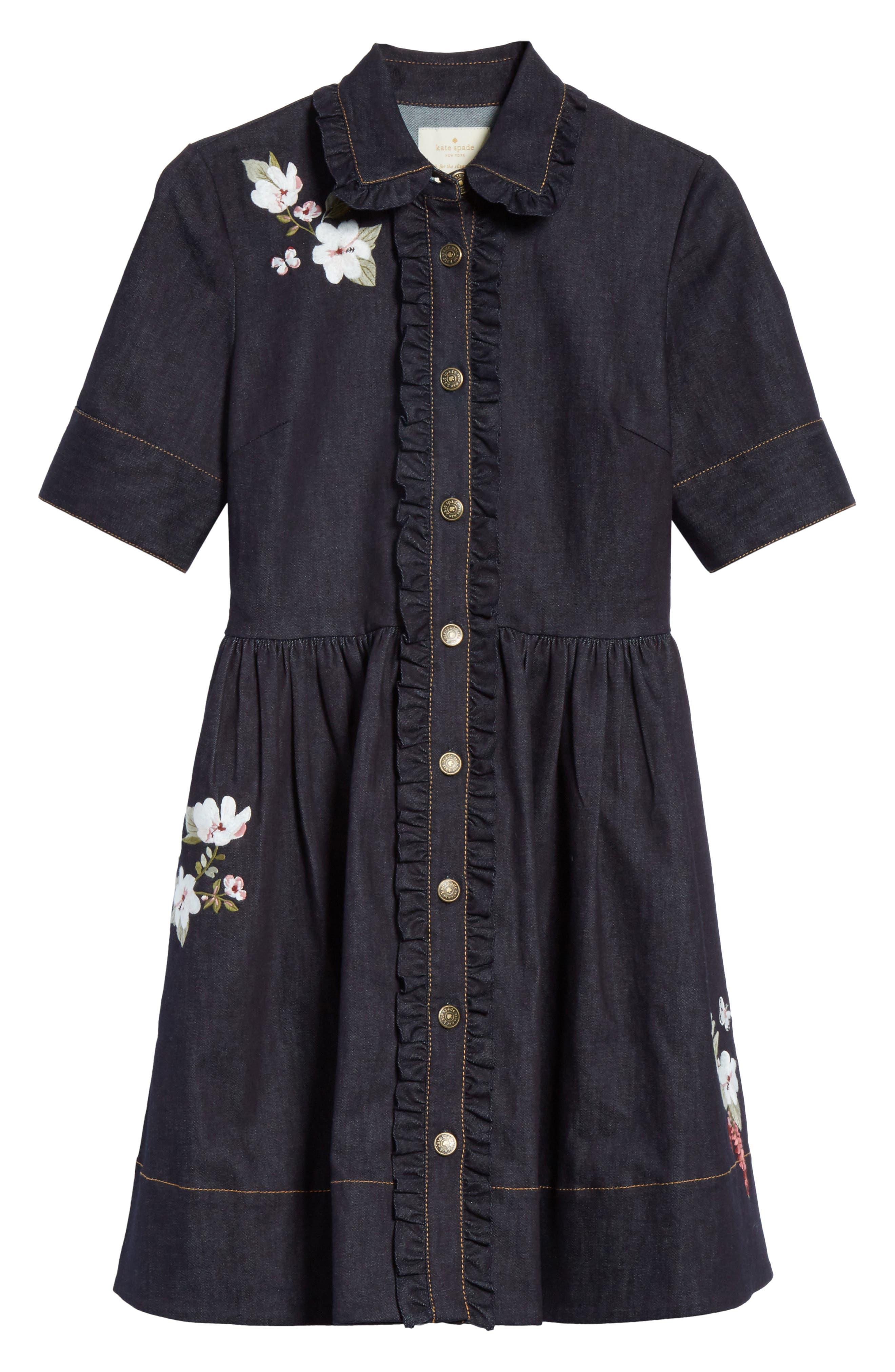 embroidered denim shirtdress,                             Alternate thumbnail 6, color,                             Indigo