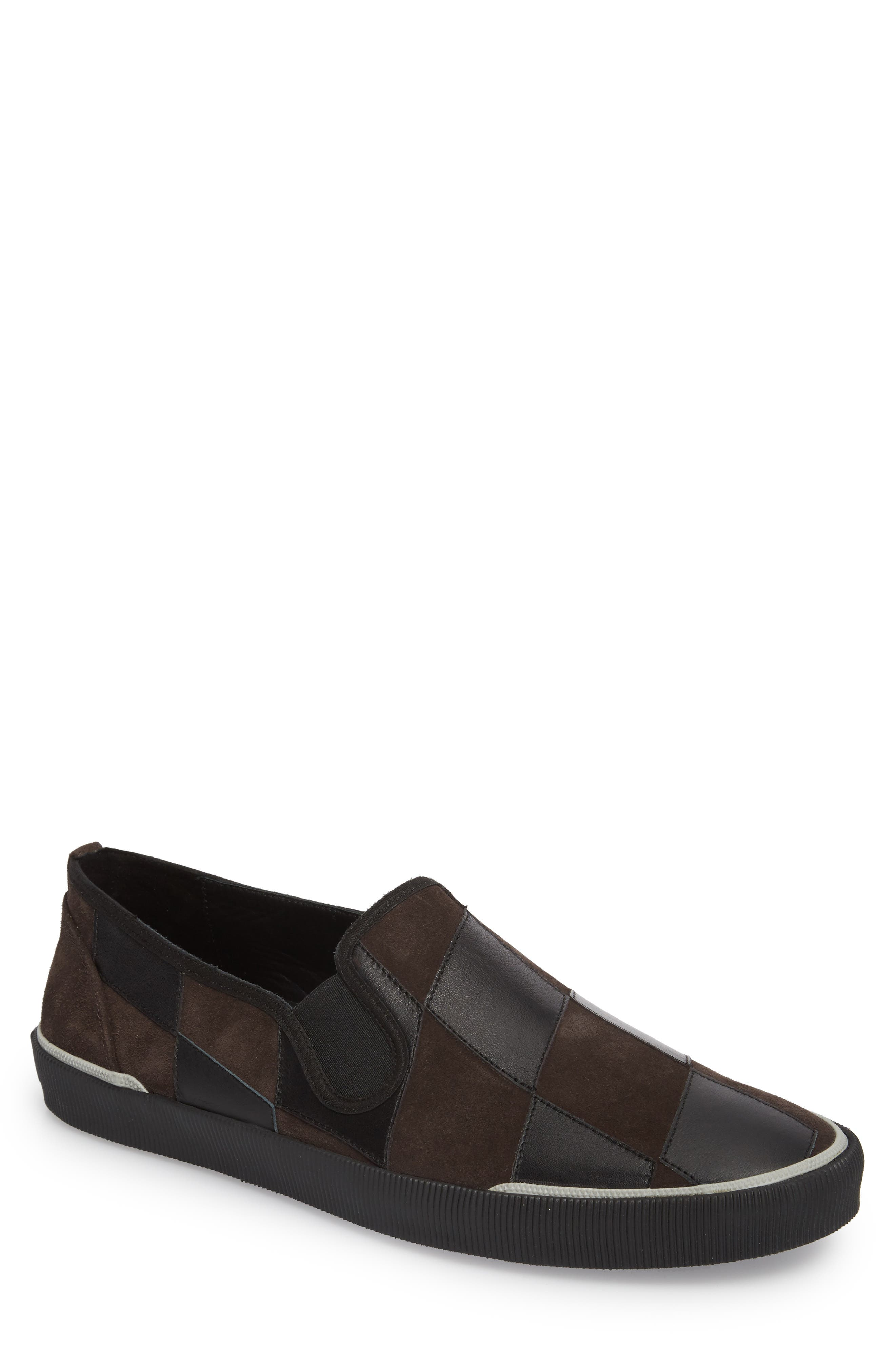 Diamond Patchwork Slip-On Sneaker,                         Main,                         color, Taupe/ Black Leather/ Suede