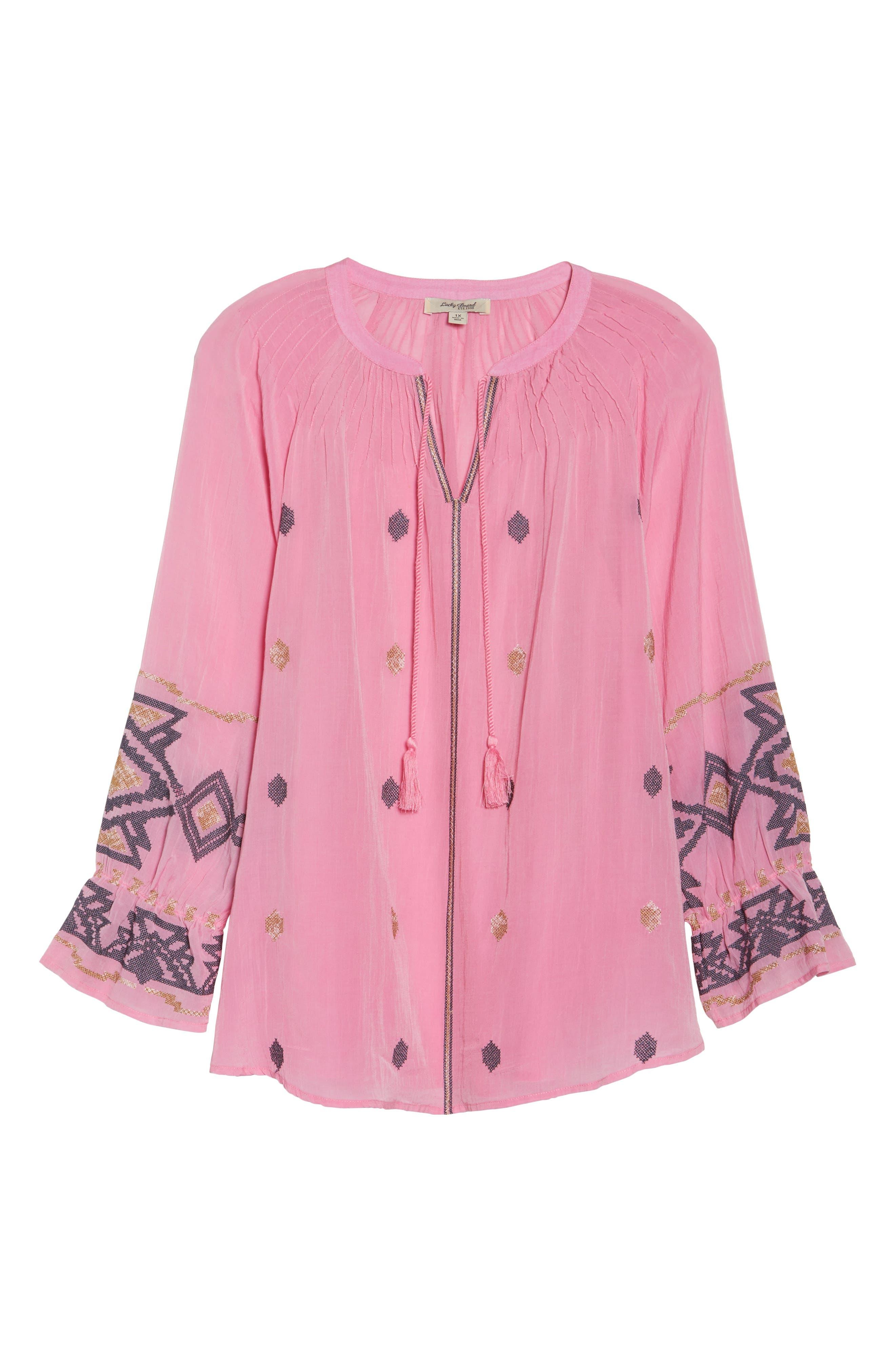 Metallic Embroidered Top,                             Alternate thumbnail 6, color,                             Flamingo Pink