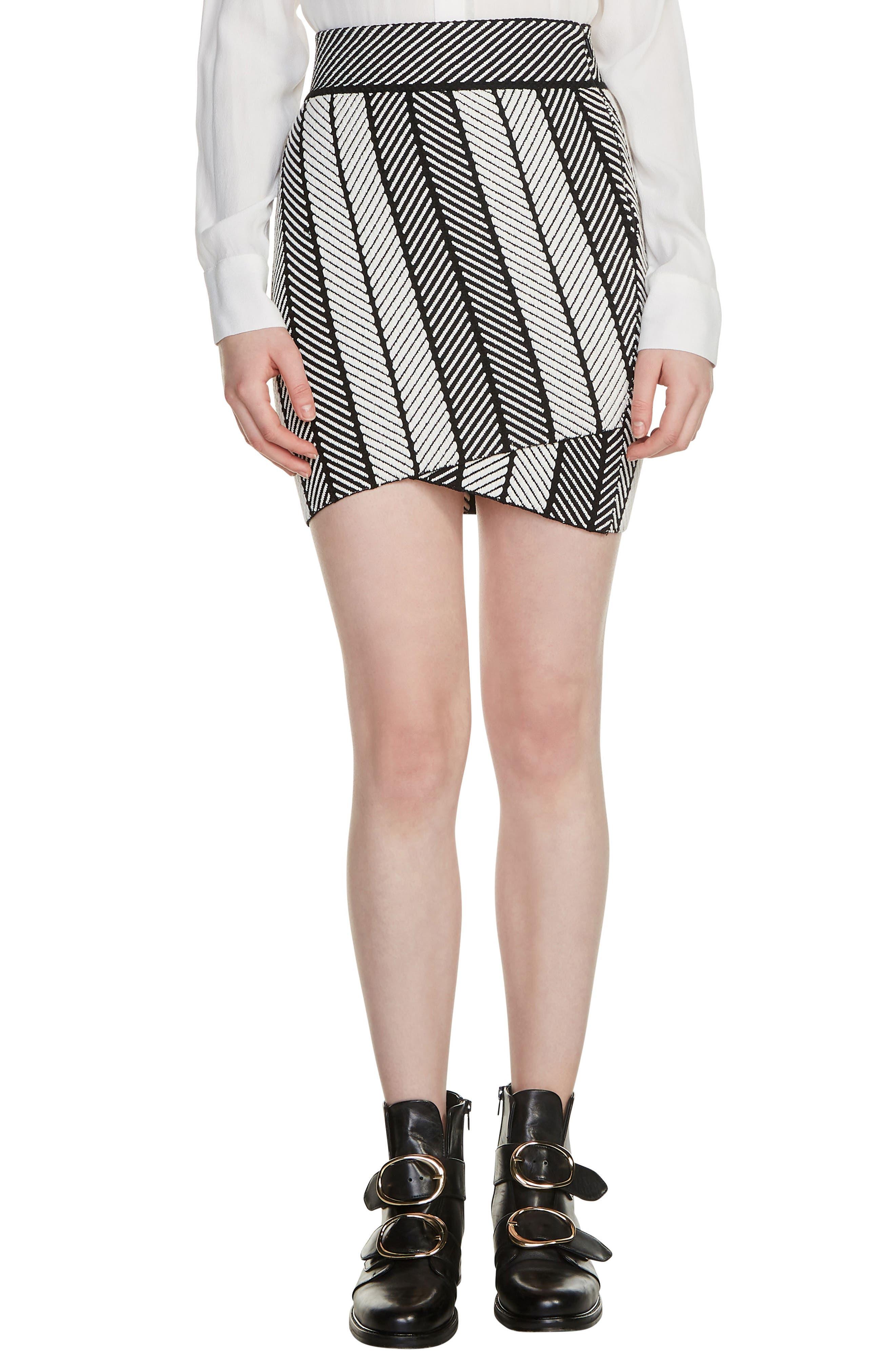 Jessy Herringbone Strip Miniskirt,                             Main thumbnail 1, color,                             Multico
