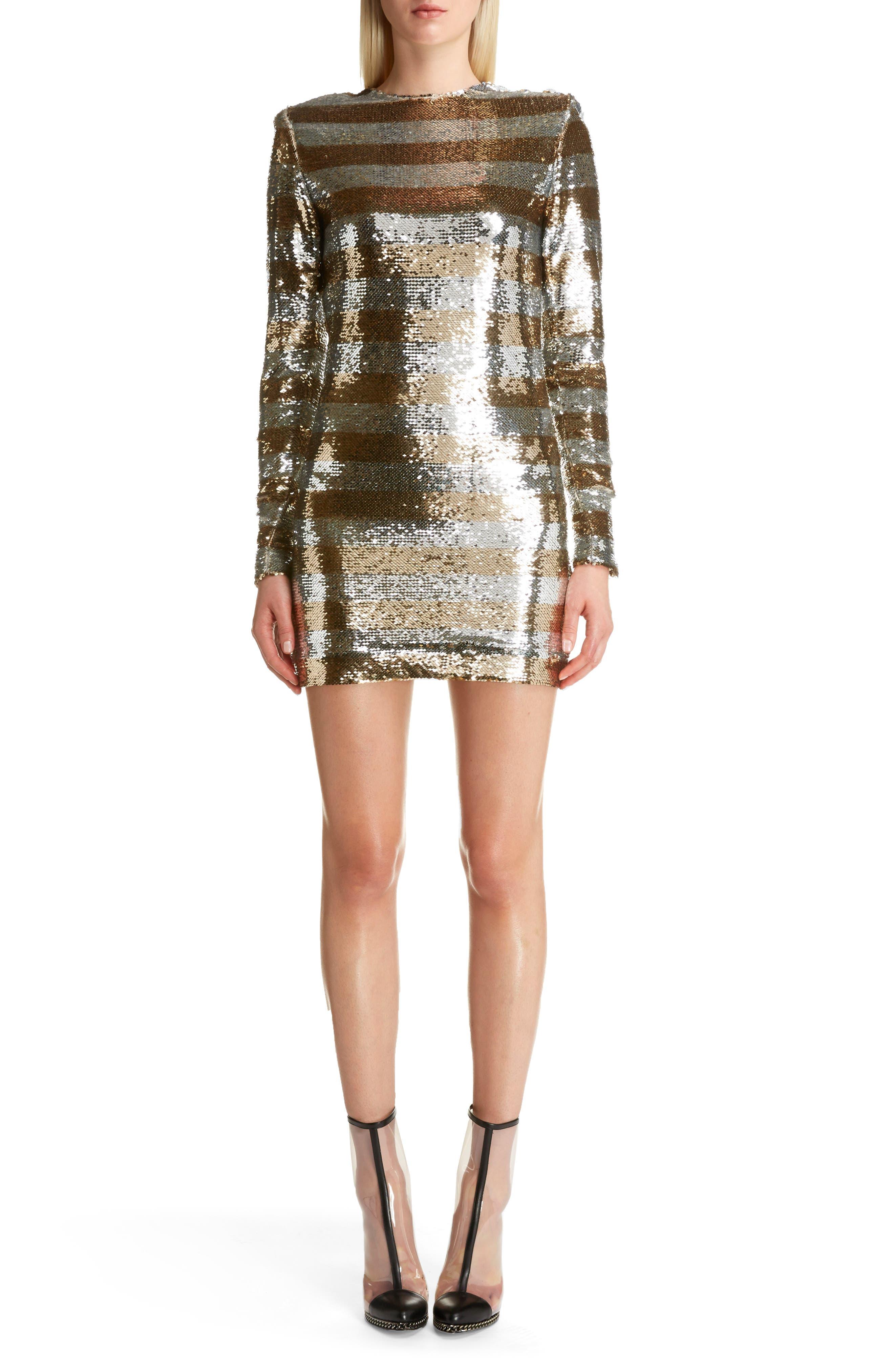 Sequin Stripe Minidress,                         Main,                         color, Argent Dore