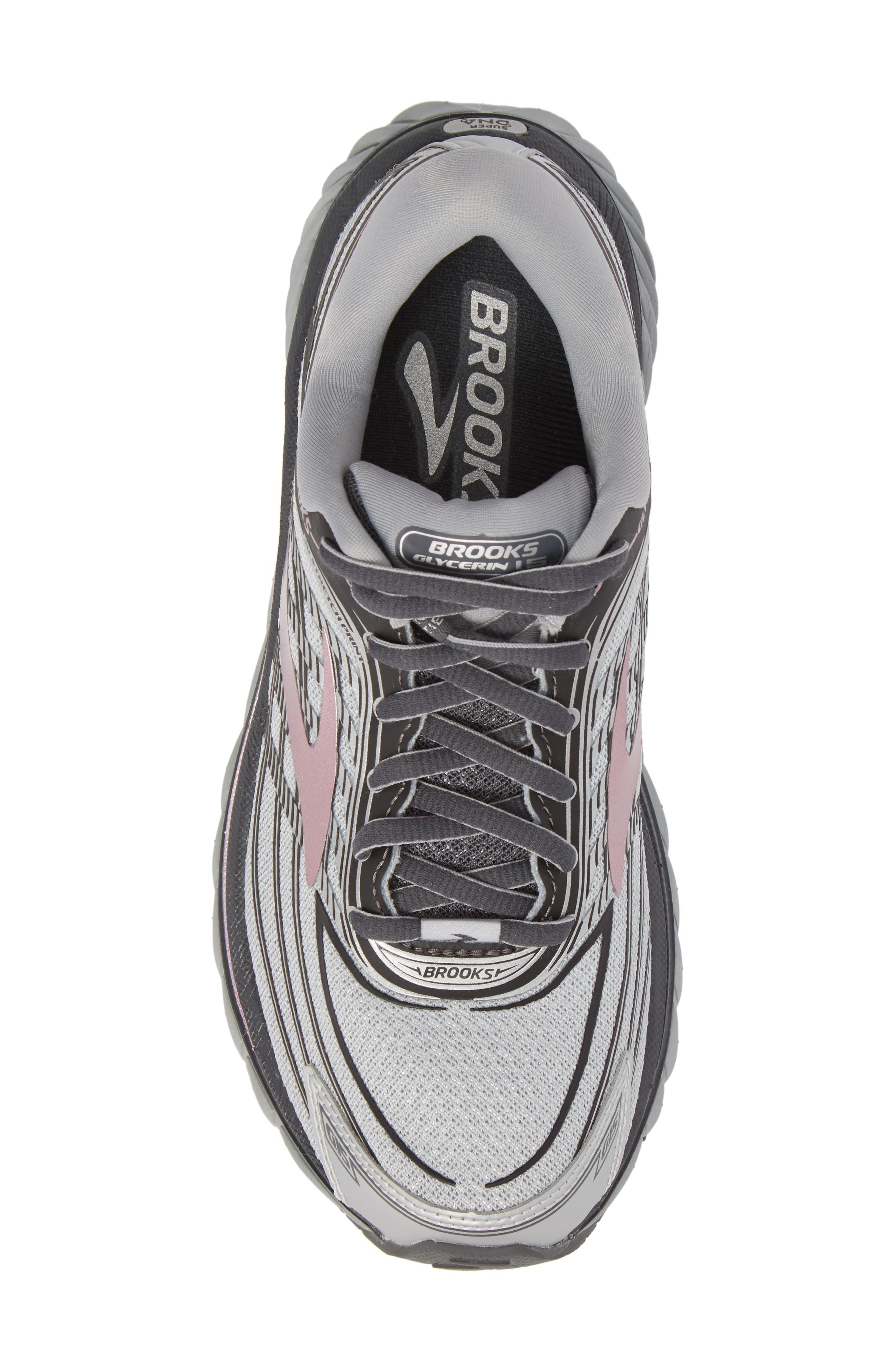 Glycerin 15 Running Shoe,                             Alternate thumbnail 5, color,                             Silver/ Grey/ Rose