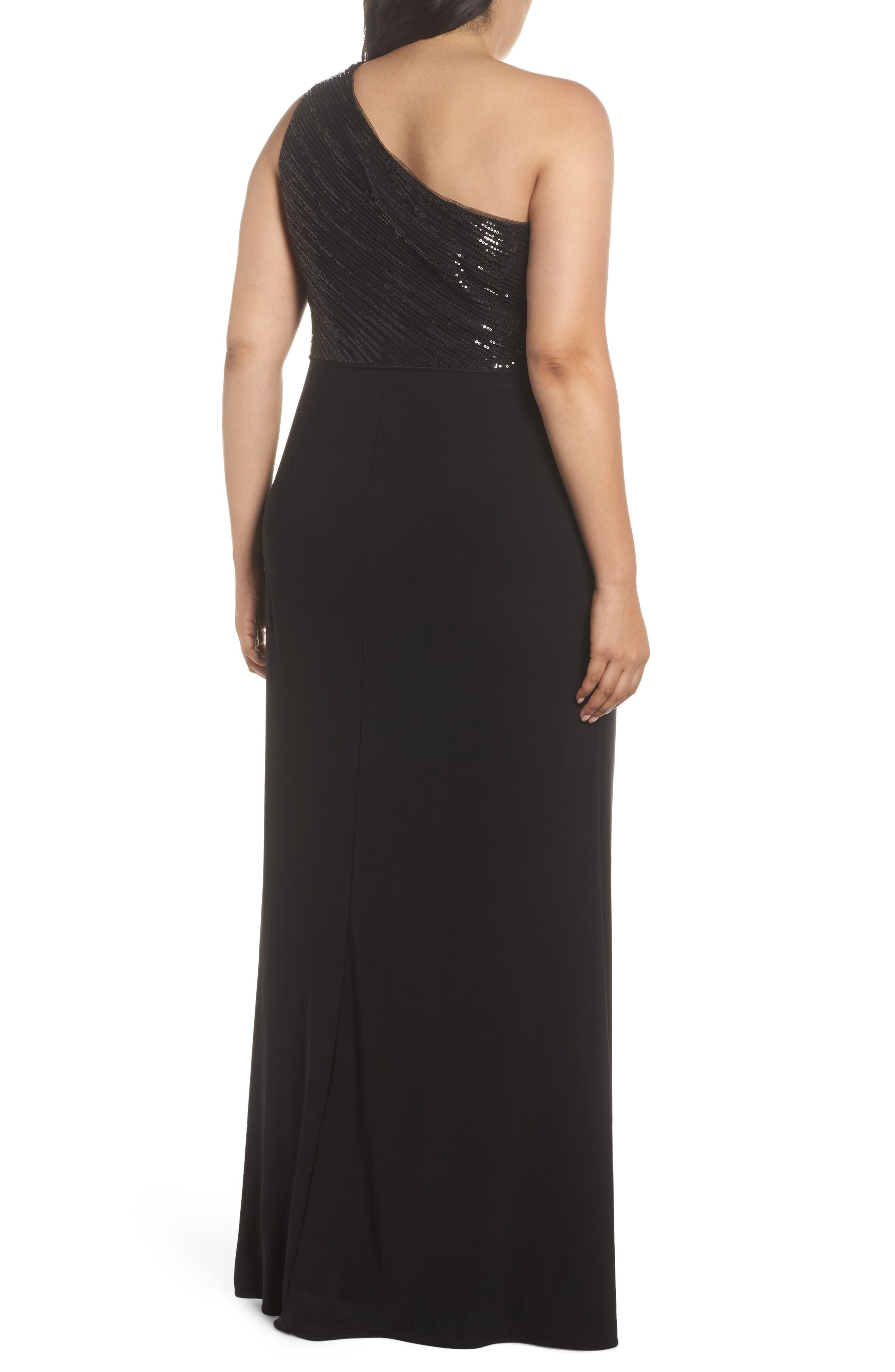 Sequin & Jersey One-Shoulder Gown,                             Alternate thumbnail 2, color,                             Black