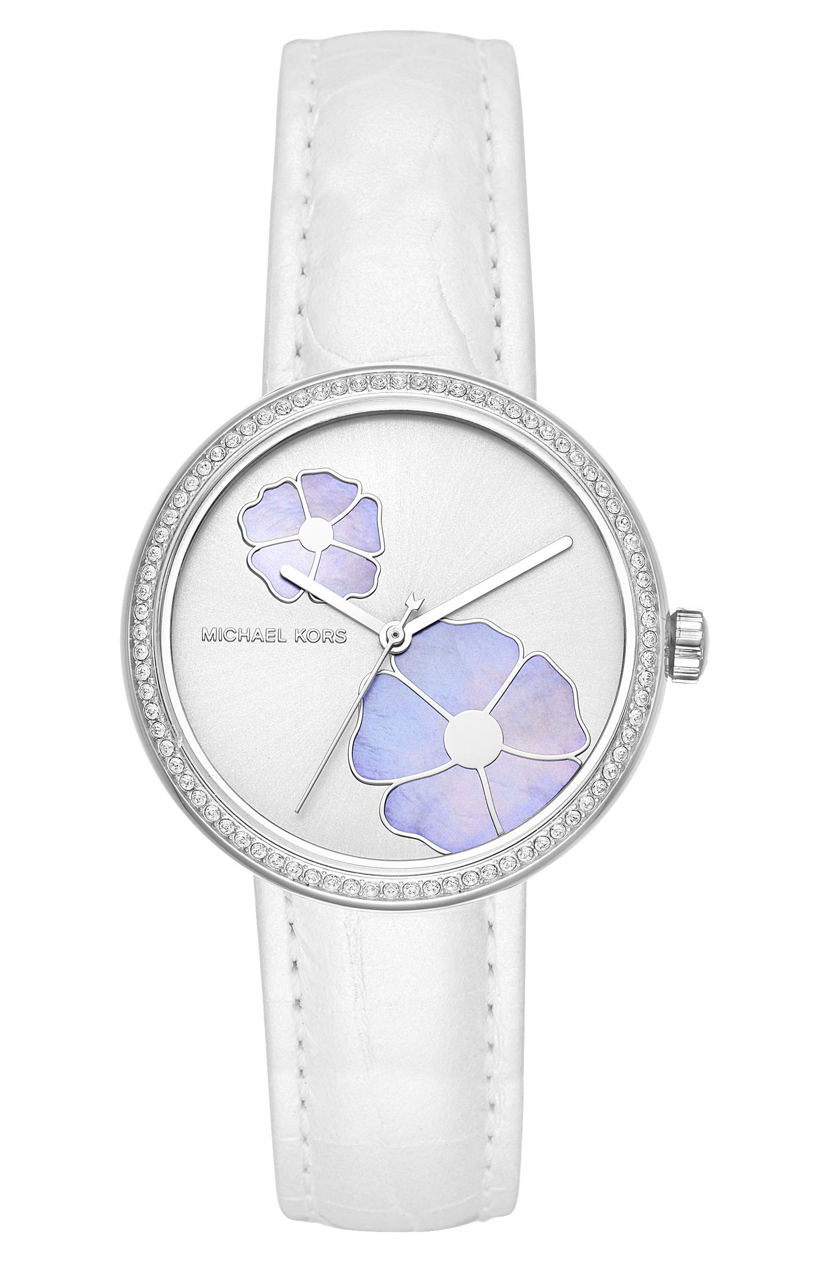 Courtney Crystal Leather Strap Watch, 36mm,                         Main,                         color, White/ Silver