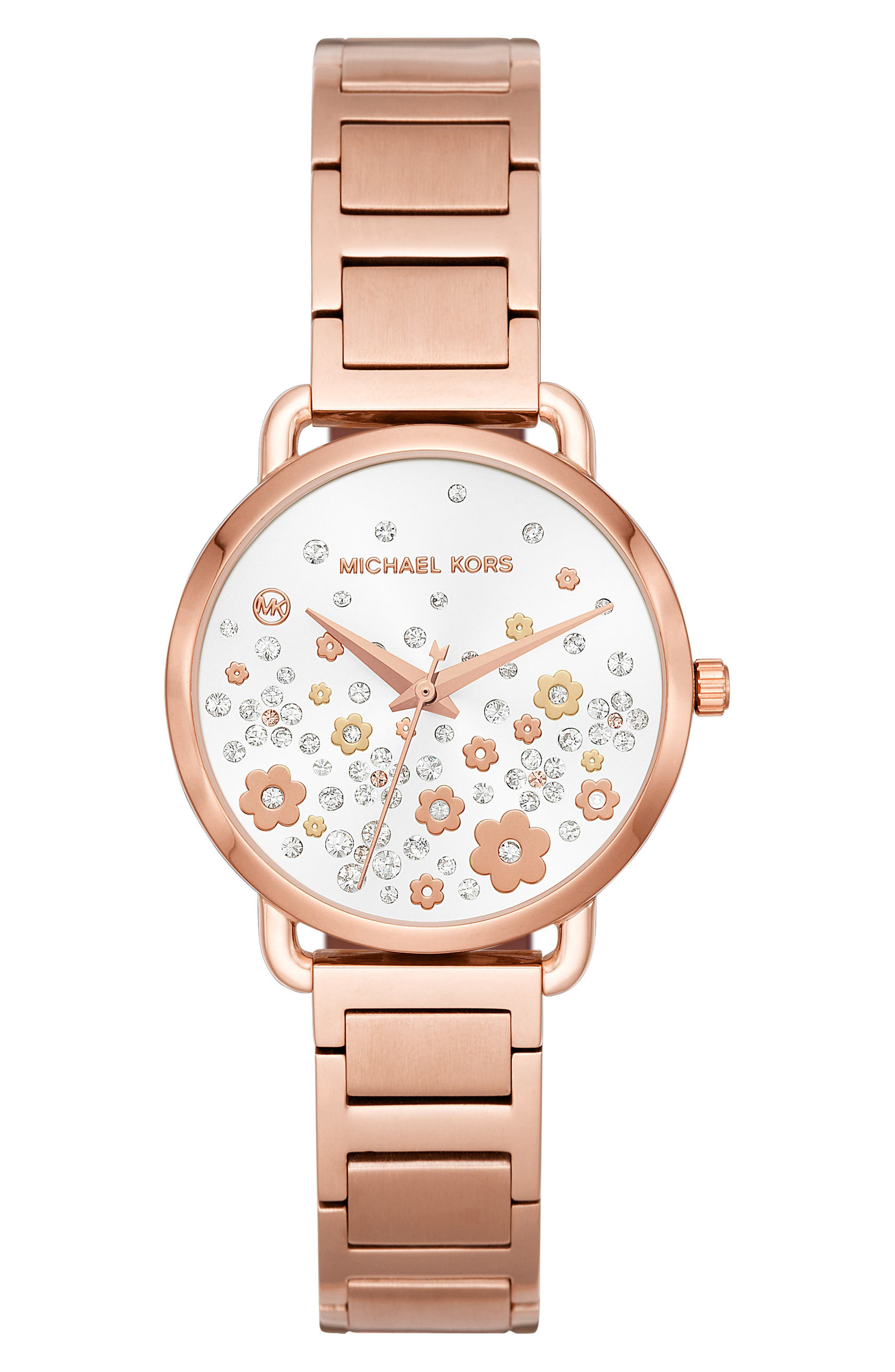 Portia Crystal Accent Bracelet Watch, 32mm,                         Main,                         color, Rose Gold/ White/ Rose Gold