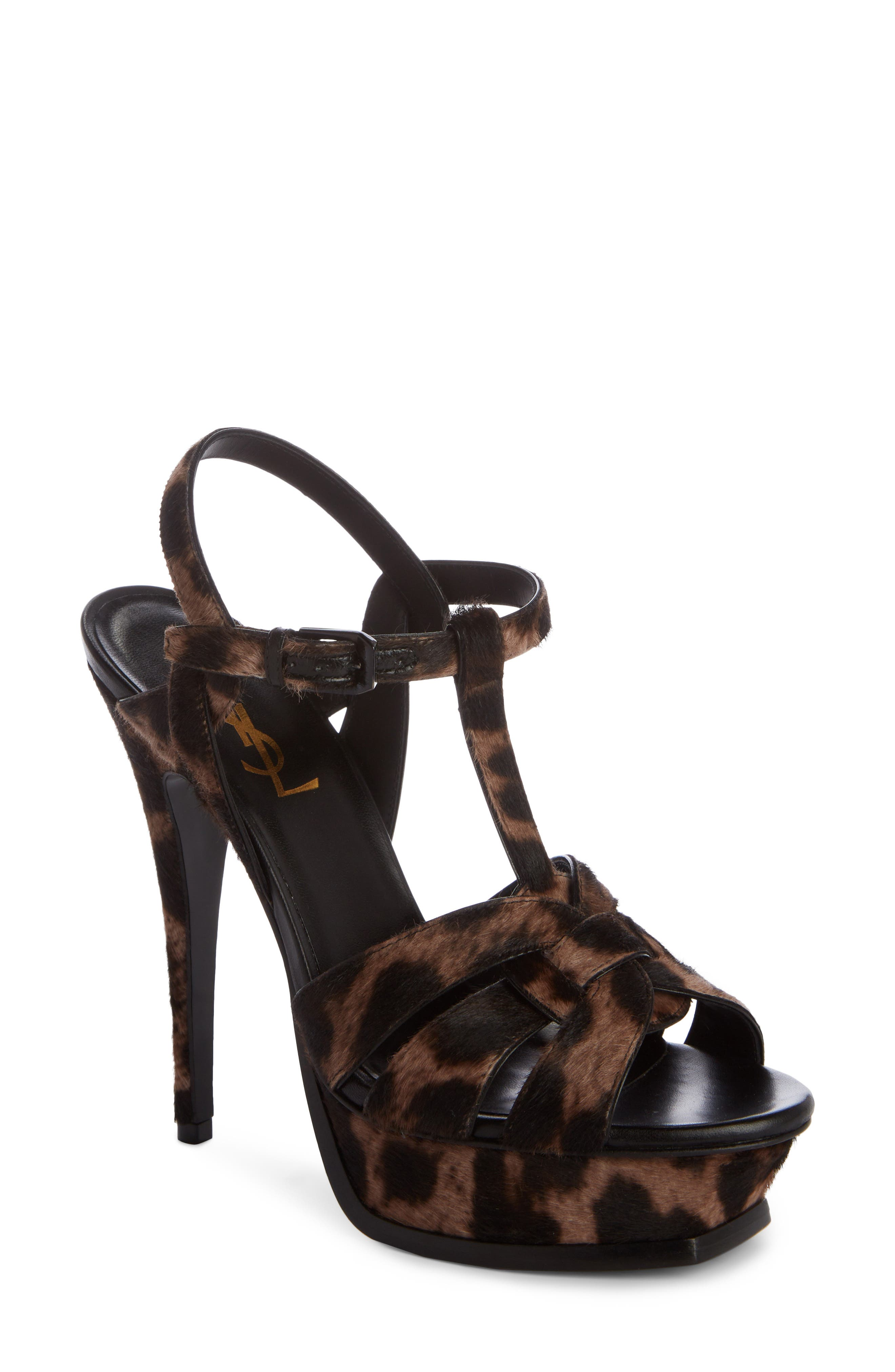 Tribute Leopard-Print Calf Hair Sandals - Brown Size 8.5