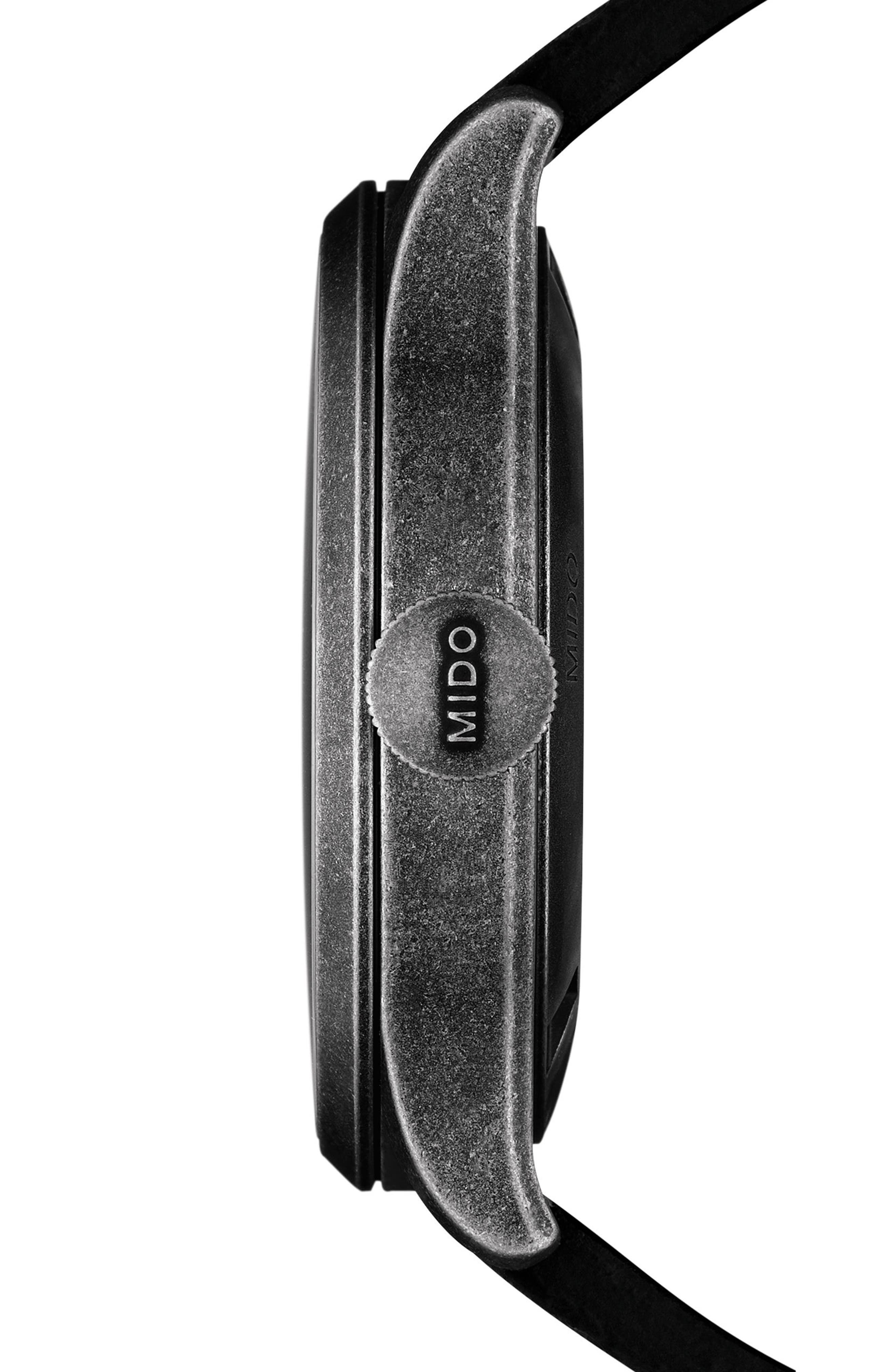Multifort Escape Leather Strap Watch, 44mm,                             Alternate thumbnail 3, color,                             Black/ Silver