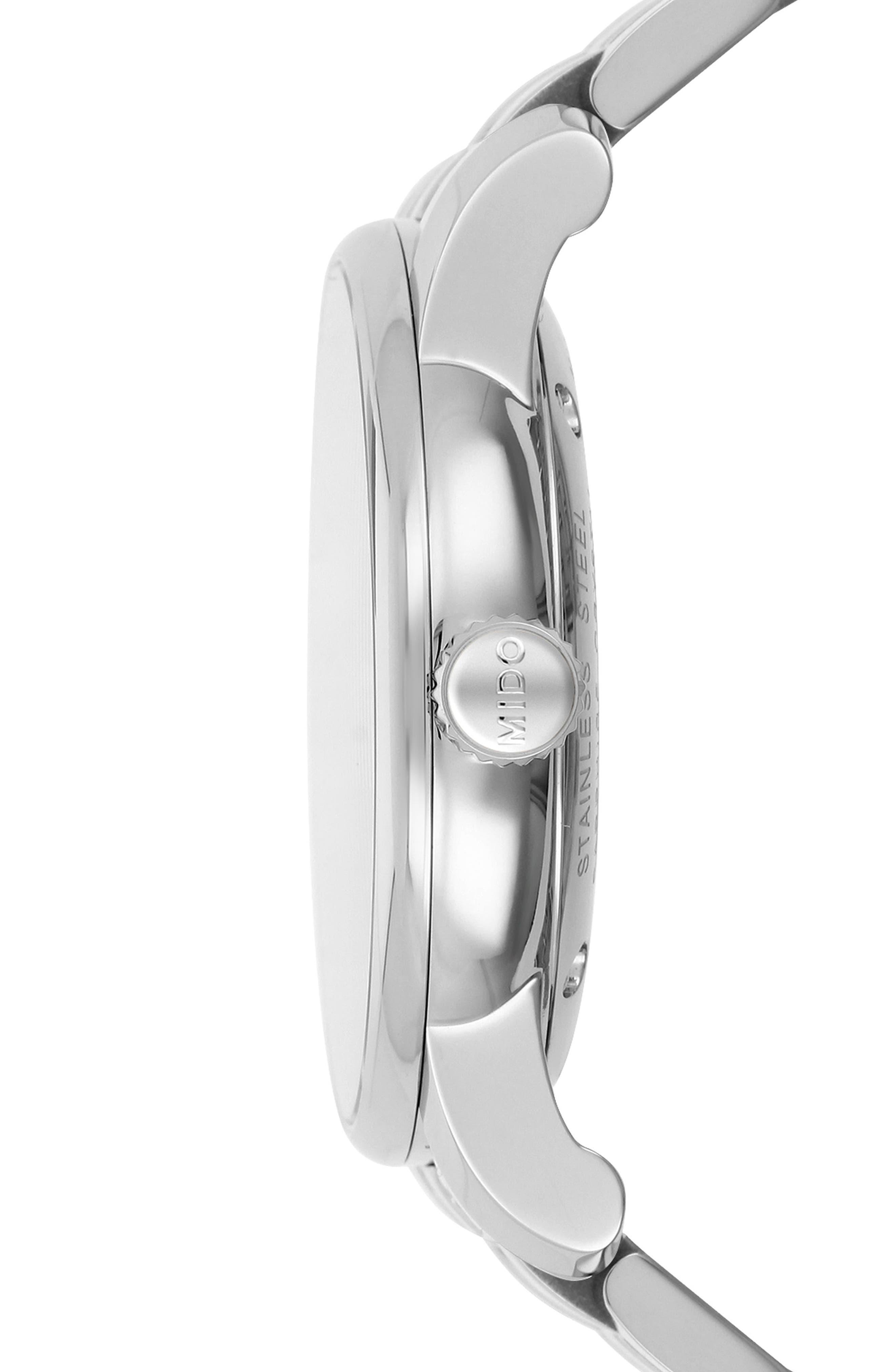 Baroncelli Bracelet Watch, 39mm,                             Alternate thumbnail 3, color,                             Siler/ White Guilloche/ Silver